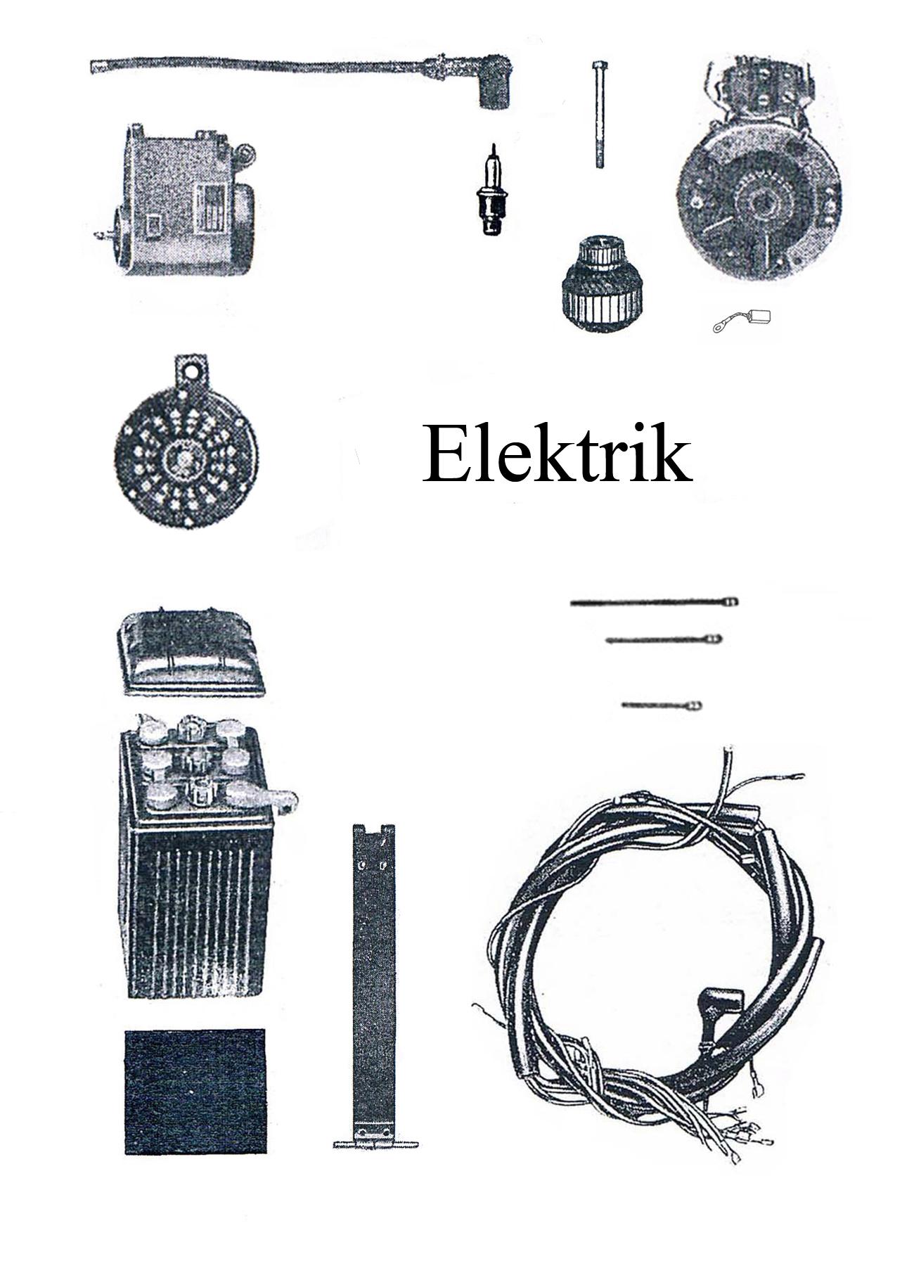 DDR-Motorrad AWO Touren Ersatzteileliste Elektrik Batteriespannband Kabelbaum Lichtmaschine Zündkerze-magnet Hupe