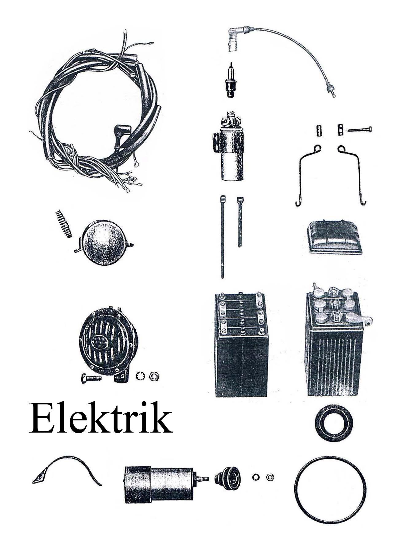 DDR-Motorrad EMW R 35 Ersatzteileliste Elektrik Batteriespannband Kabelbaum Lichtmaschine Zündkerze-spule Hupe
