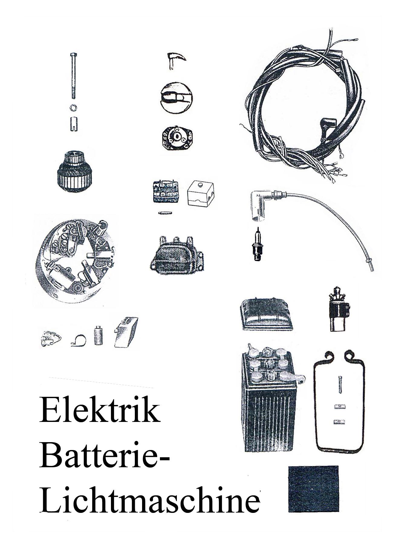 DDR-Motorrad IWL Berliner Roller SR 59 Ersatzteileliste Elektrik Batterie Kabelbaum Lichtmaschine