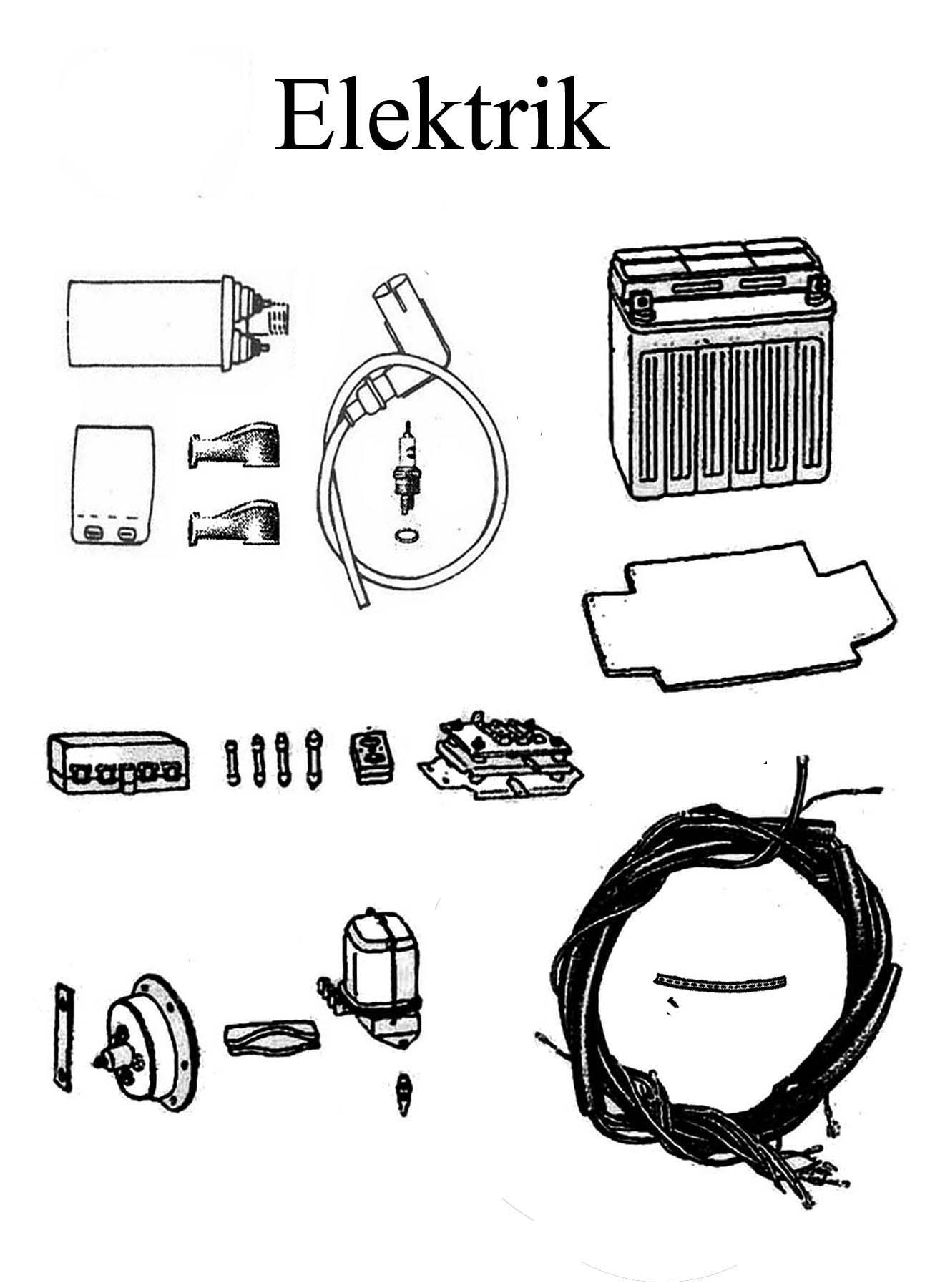 MZ ETZ 125-150 Ersatzteileliste Elektrik Batterie Regler Kabelbaum Zündspule