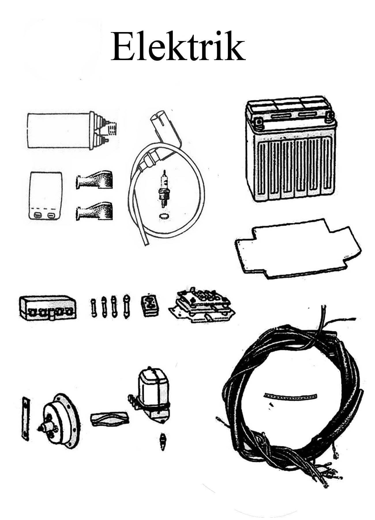 MZ ETZ 250 Ersatzteile Elektrik Batterie Regler Kabelbaum Zündspule