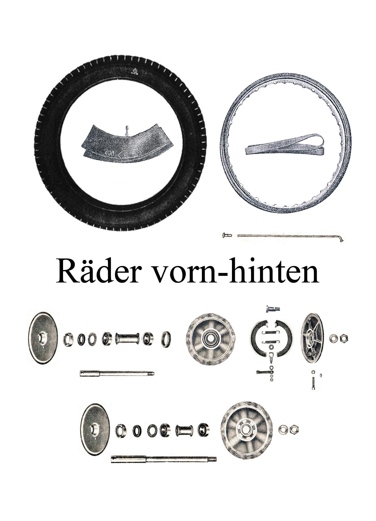 DDR-Motorrad IFA MZ BK 350 Ersatzteileliste Vorderrad Hinterrad Reifen Speichen Achsen