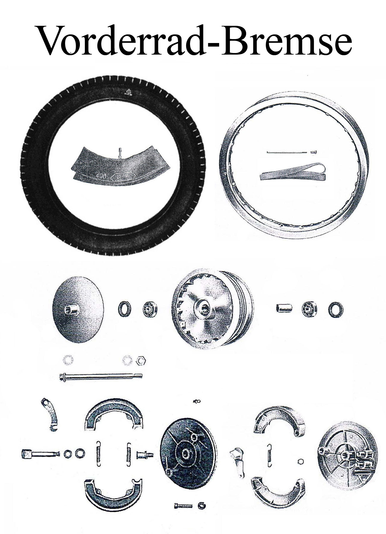 DDR-Motorrad MZ ES 175-250 175/1-250/1 Ersatzteile Vorderrad Bremsbacken Speichen Reifen Felgenband Schlauch