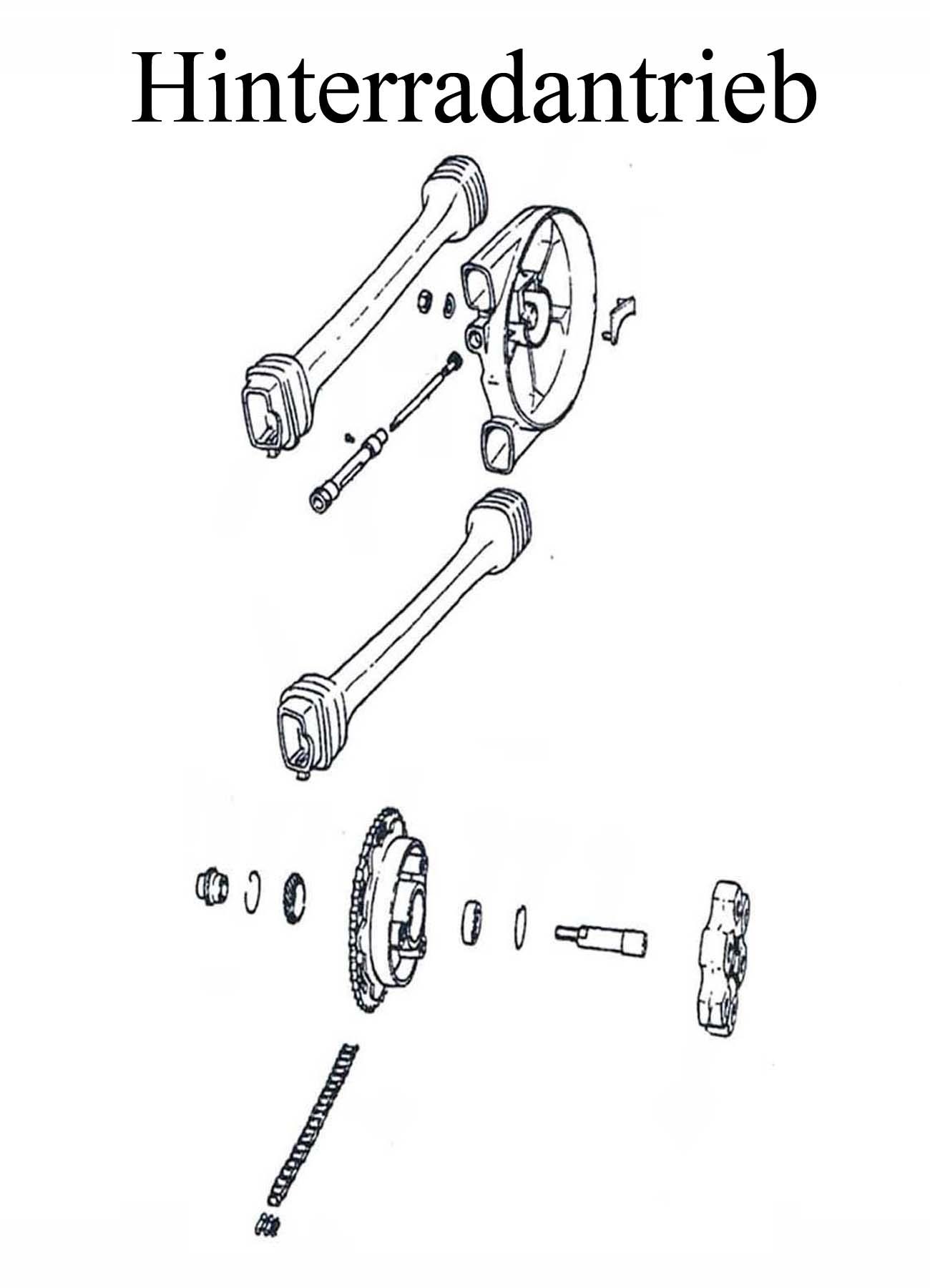 DDR-Motorrad MZ ETZ 125-150 Ersatzteile Hinterradantrieb Kettenschlauch Schläuche Schloß Kasten Mitnehmergummi Zahnkranz Dämpfungskörper