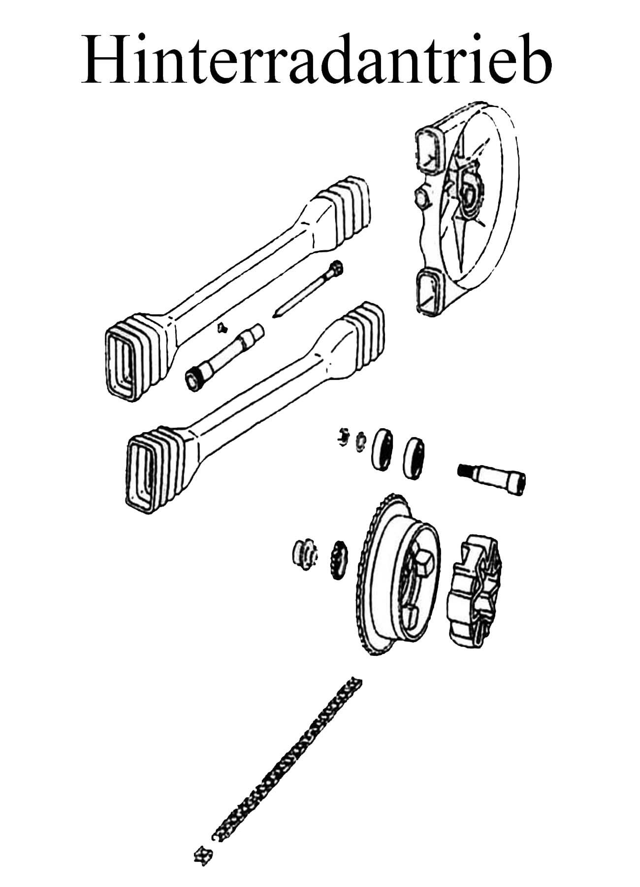 DDR-Motorrad MZ ETZ 251 Ersatzteile Hinterradantrieb Kettenschlauch Schläuche Schloß Kasten Mitnehmer Dämpfungsgummi Tachoantrieb