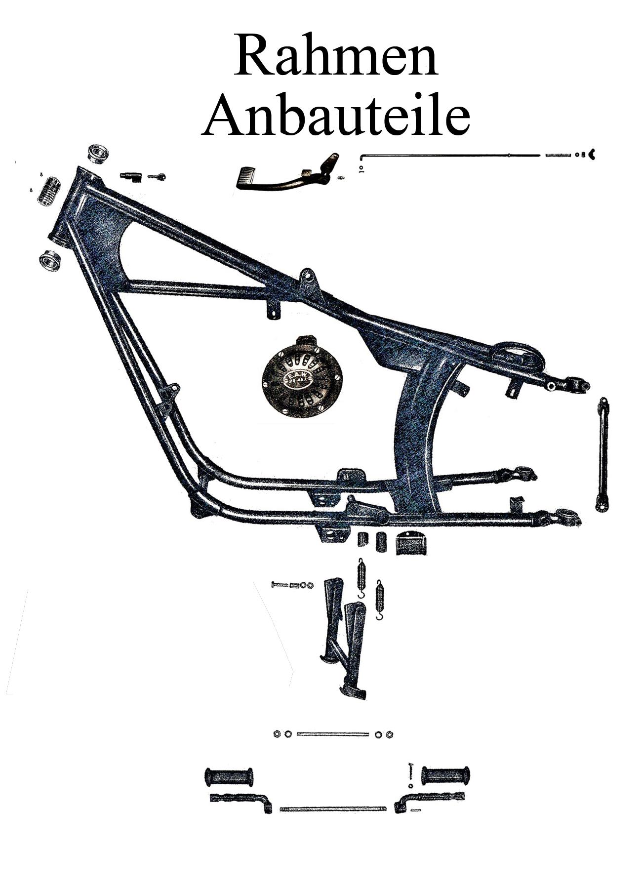 DDR-Motorrad IFA MZ BK 350 Ersatzteileliste Rahmen Anbauteile Ständerfeder Fußrastengummis
