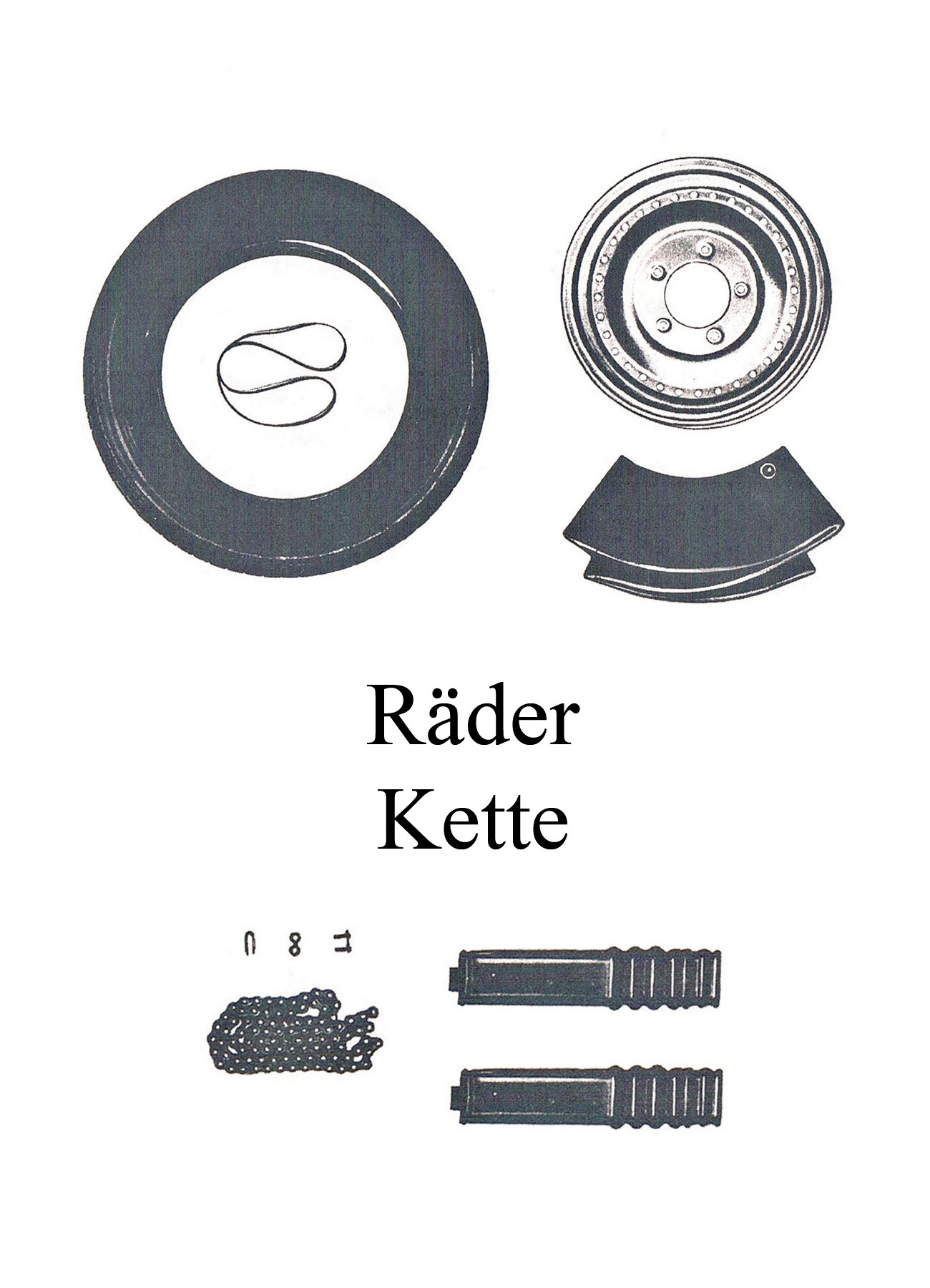 DDR-Motorrad IWL Berliner Roller SR 59 Räder Reifen Kettenschlauch Felgenband