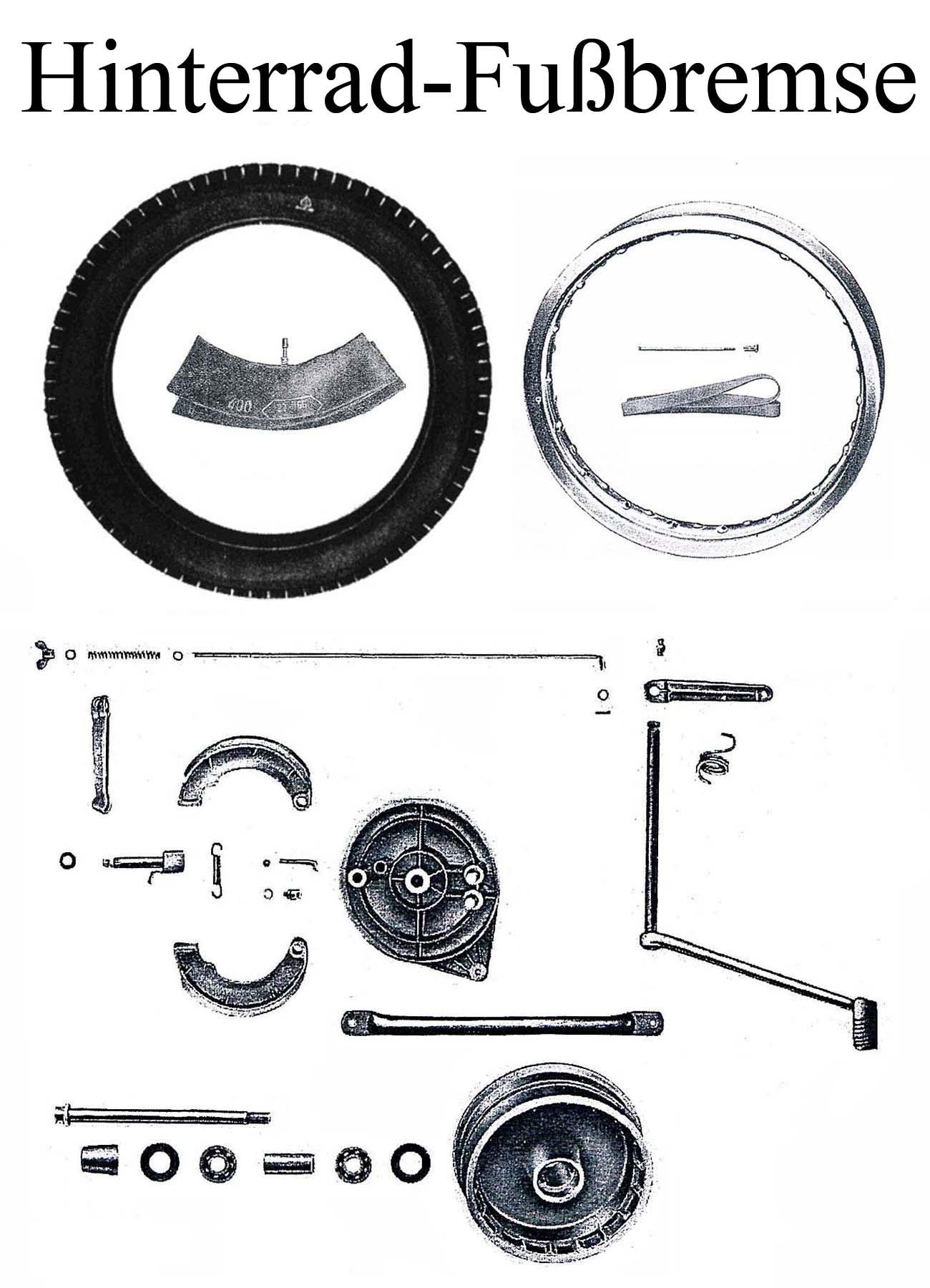 DDR-Motorrad MZ ES 175-250/0-1 Ersatzteileliste Hinterrad 16 Zoll Reifen Speichen Felge Fußbremshebel Bremsbacken