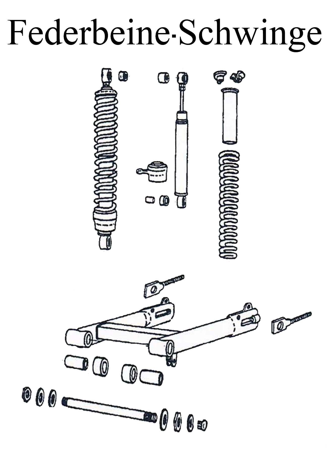DDR-Motorrad MZ ETZ 125-150 Ersatzteileliste Hinterradfederung Federbeine Stoßdämpferelement Schwingenlagerbolzen Gummi Kettenspanner