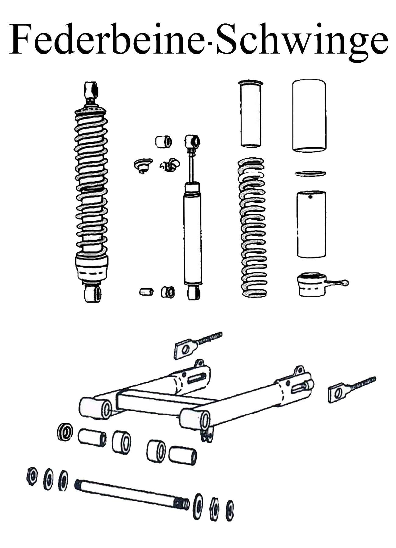 DDR-Motorrad MZ ETZ 251 Ersatzteileliste Hinterradfederung Federbeine Stoßdämpferelement Schwingenlagerbolzen Gummi Kettenspanner