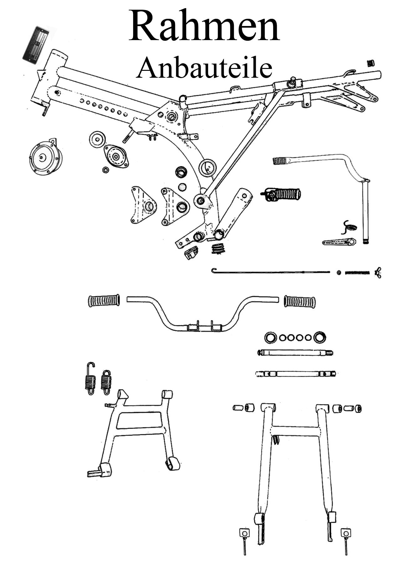 MZ TS 250/0-1 Ersatzteile Rahmen Anbauteile