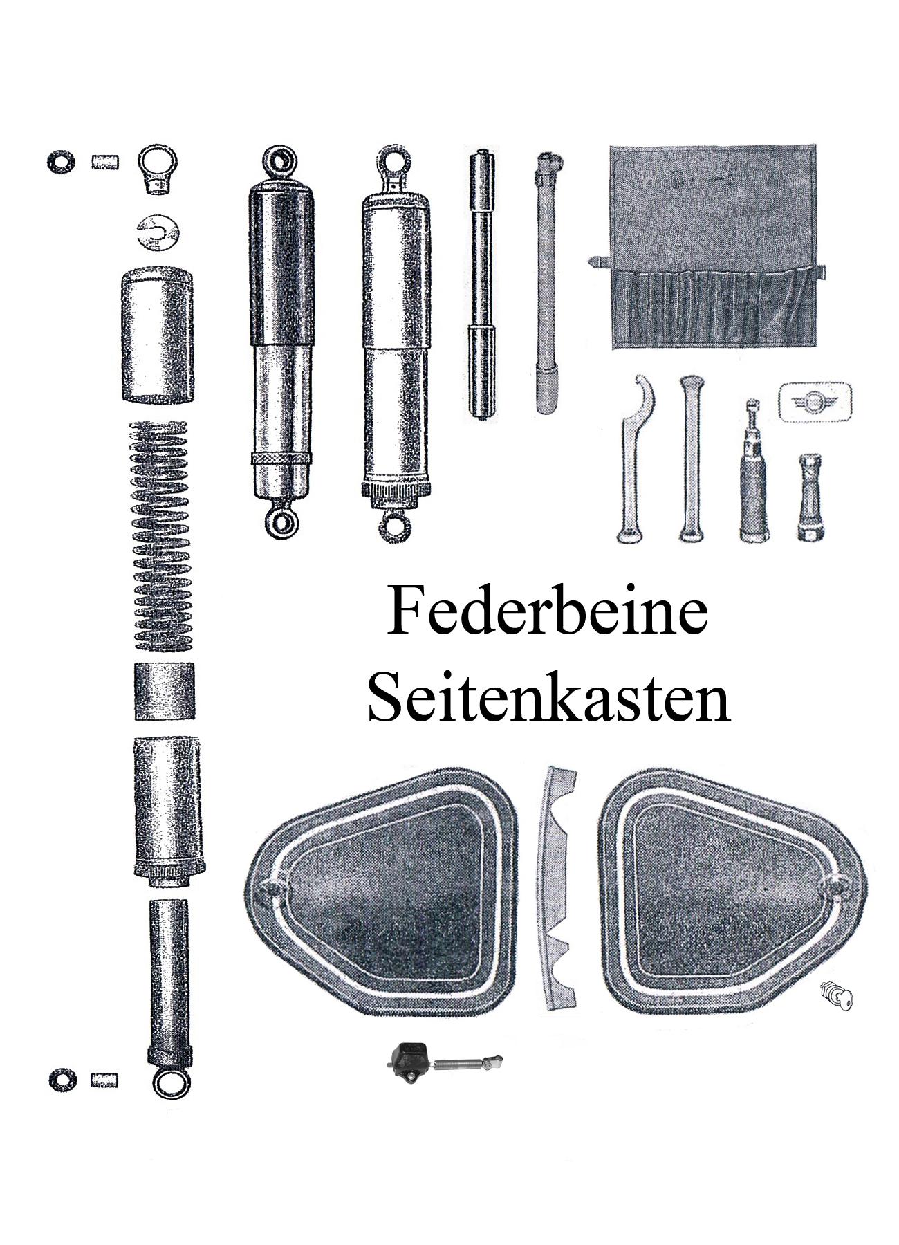 DDR-Motorrad AWO Sport Ersatzteileliste Federbein Stoßdämpfergummi Keder Schloß Seitenkasten Werkzeugkasten Batteriekasten Keder Hülse