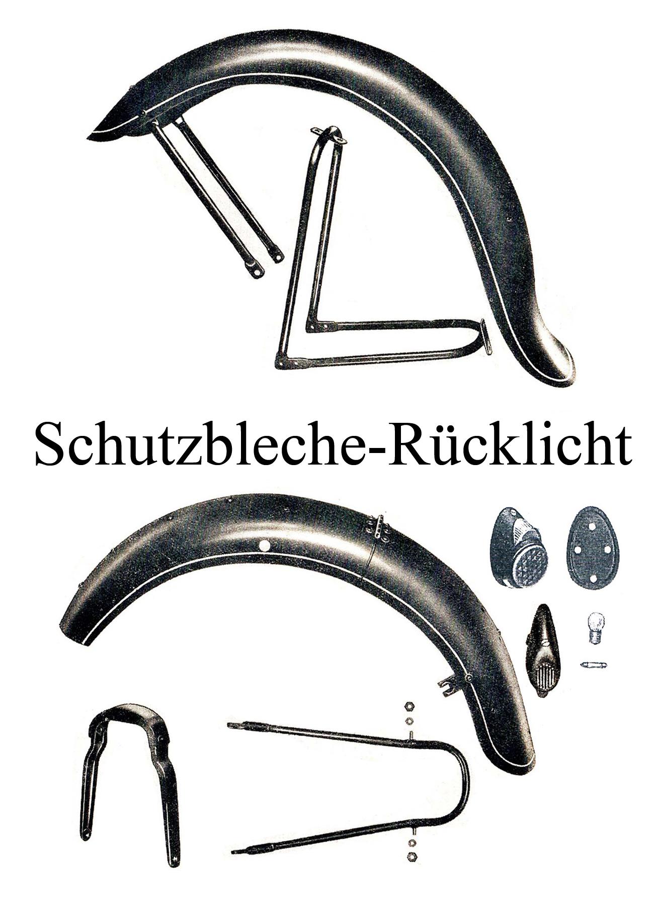 DDR-Motorrad IFA MZ BK 350 Ersatzteileliste Schutzblech Kotflügel hinten Rücklicht