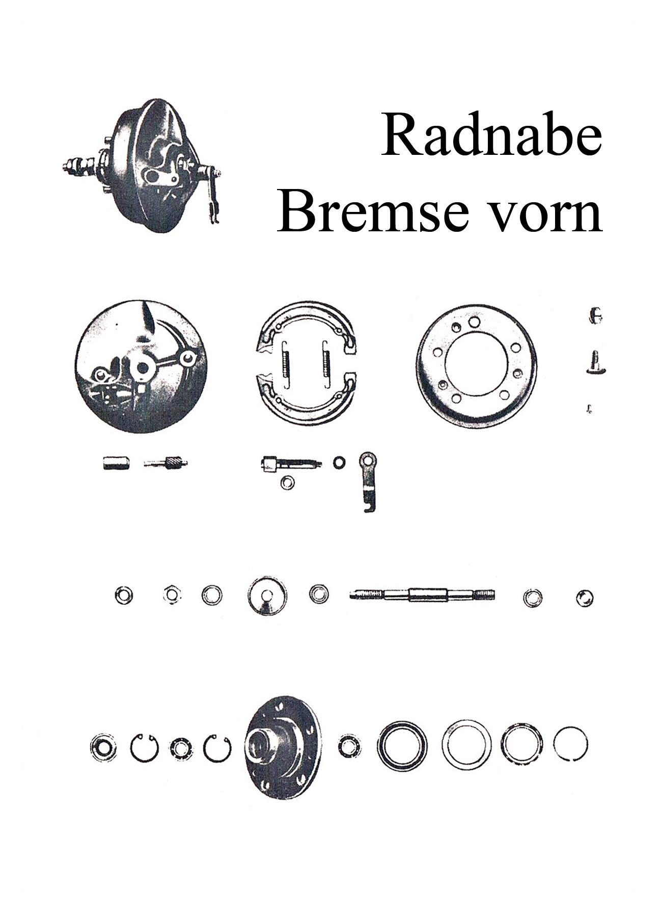 DDR-Motorrad IWL Berliner Roller SR 59 Ersatzteileliste Vorderradnabe Radlager Mutter Bremsankerplatte