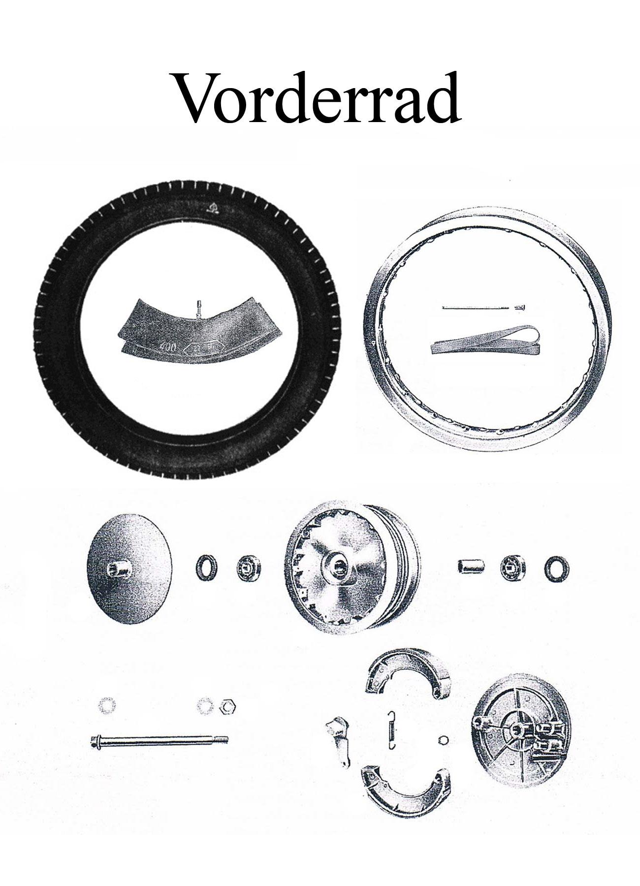 MZ ES 175/2-250/2 Ersatzteileliste Vorderrad 16 Zoll Reifen Felgenband Speichen Lager Radnabe Bremsbacken