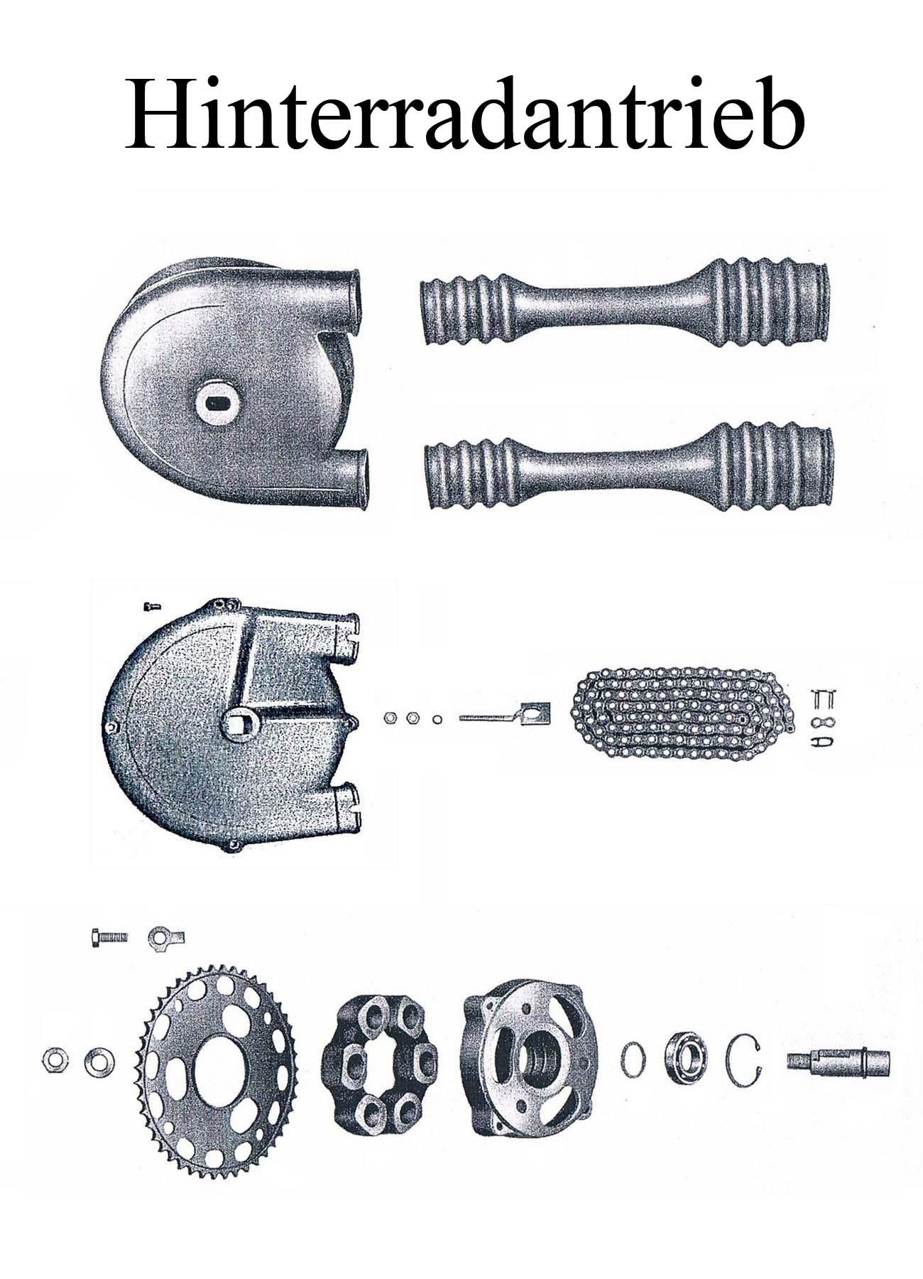 MZ ES 175-250/0-1 Ersatzteileliste Hinterradantrieb Kettenkasten Kettenschlauch Schläuche Schloß Kettenrad Zahnkranz Mitnehmergummi