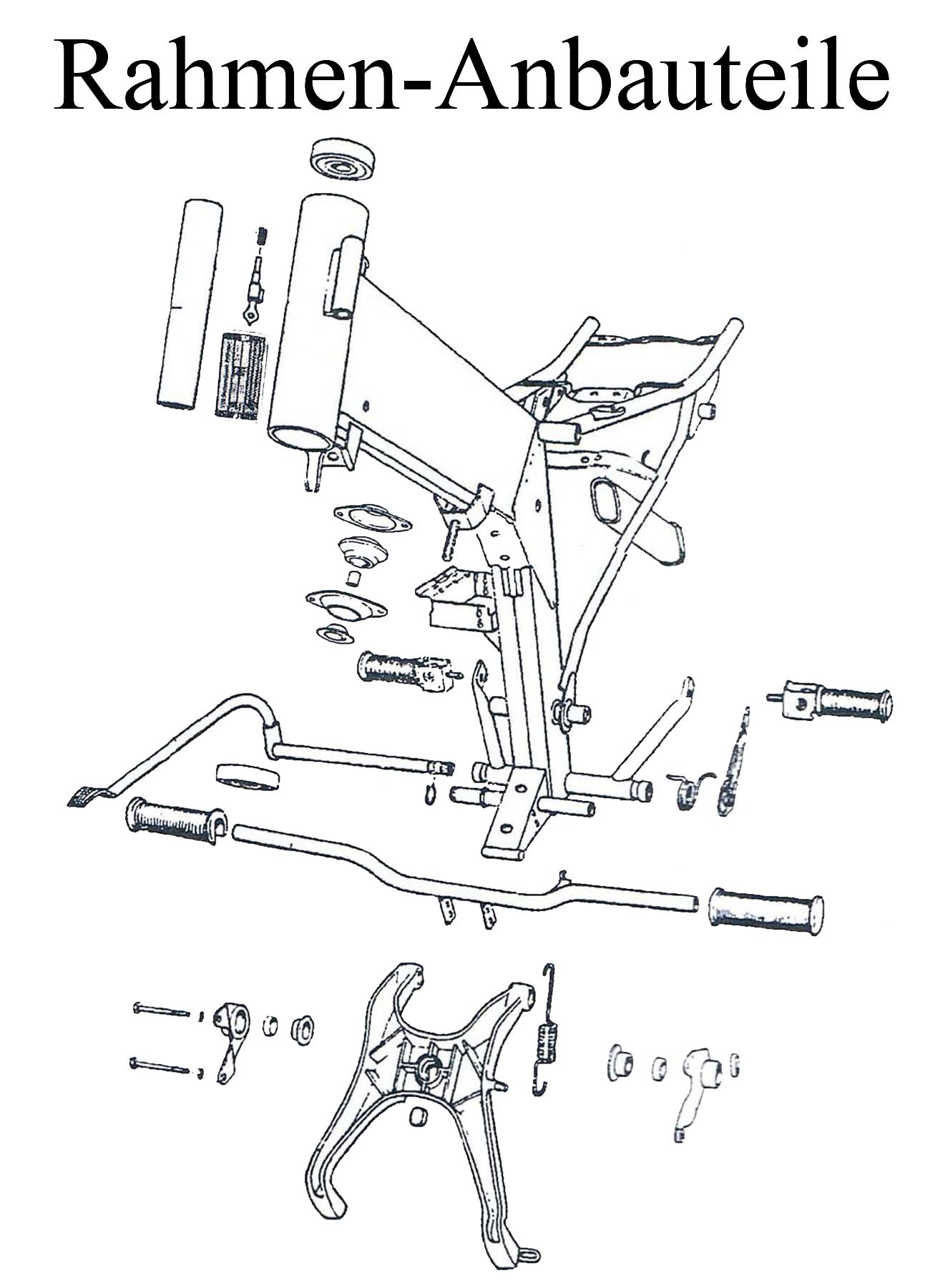 MZ ETZ 125-150 Ersatzteileliste Rahmen Anbauteile Fahrgestell Typenschild Lenkerschloß Fußrastengummi Motorschuh Ständerfeder Soziusfußrasten Bremshebel