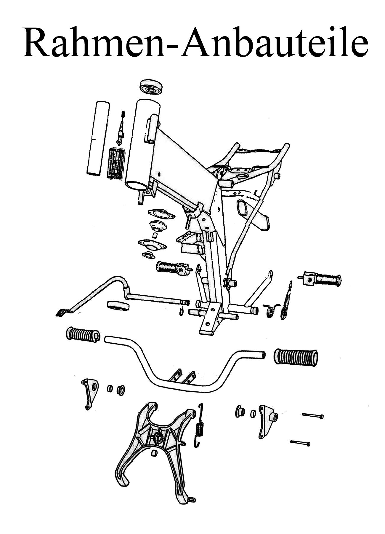 MZ ETZ 251 Ersatzteileliste Rahmen Anbauteile Fahrgestell Typenschild Lenkerschloß Fußrastengummi Motorschuh Ständerfeder Soziusfußrasten Bremshebel