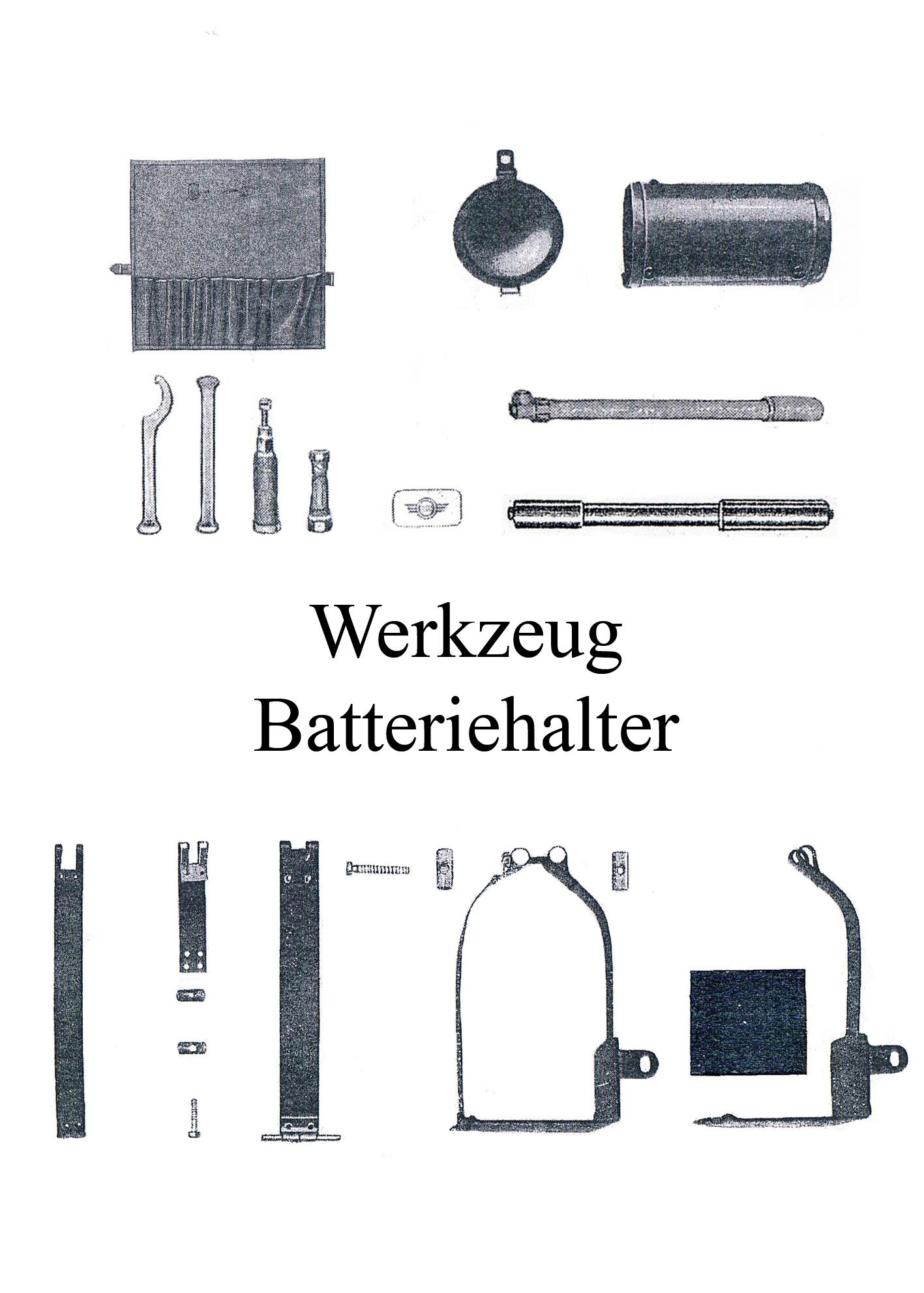 DDR-Motorrad AWO Touren Werkzeugtrommel Rolle Batteriehaltegestel Spannband Luftpumpe