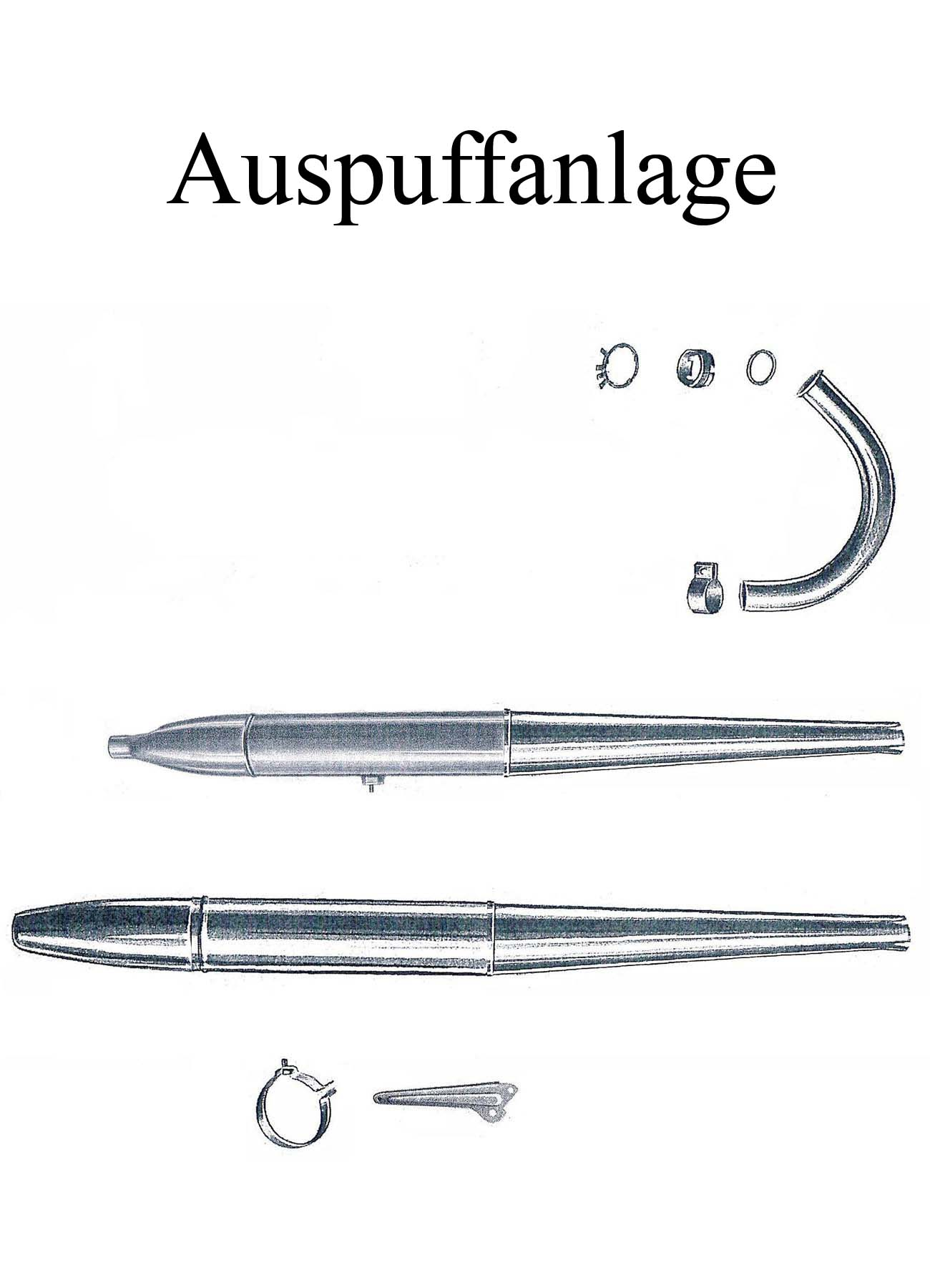 MZ ES 175-250/0-1 Ersatzteileliste Auspuffanlage Krümmermutter Dichtung Schelle Auspufftopf Zigarre