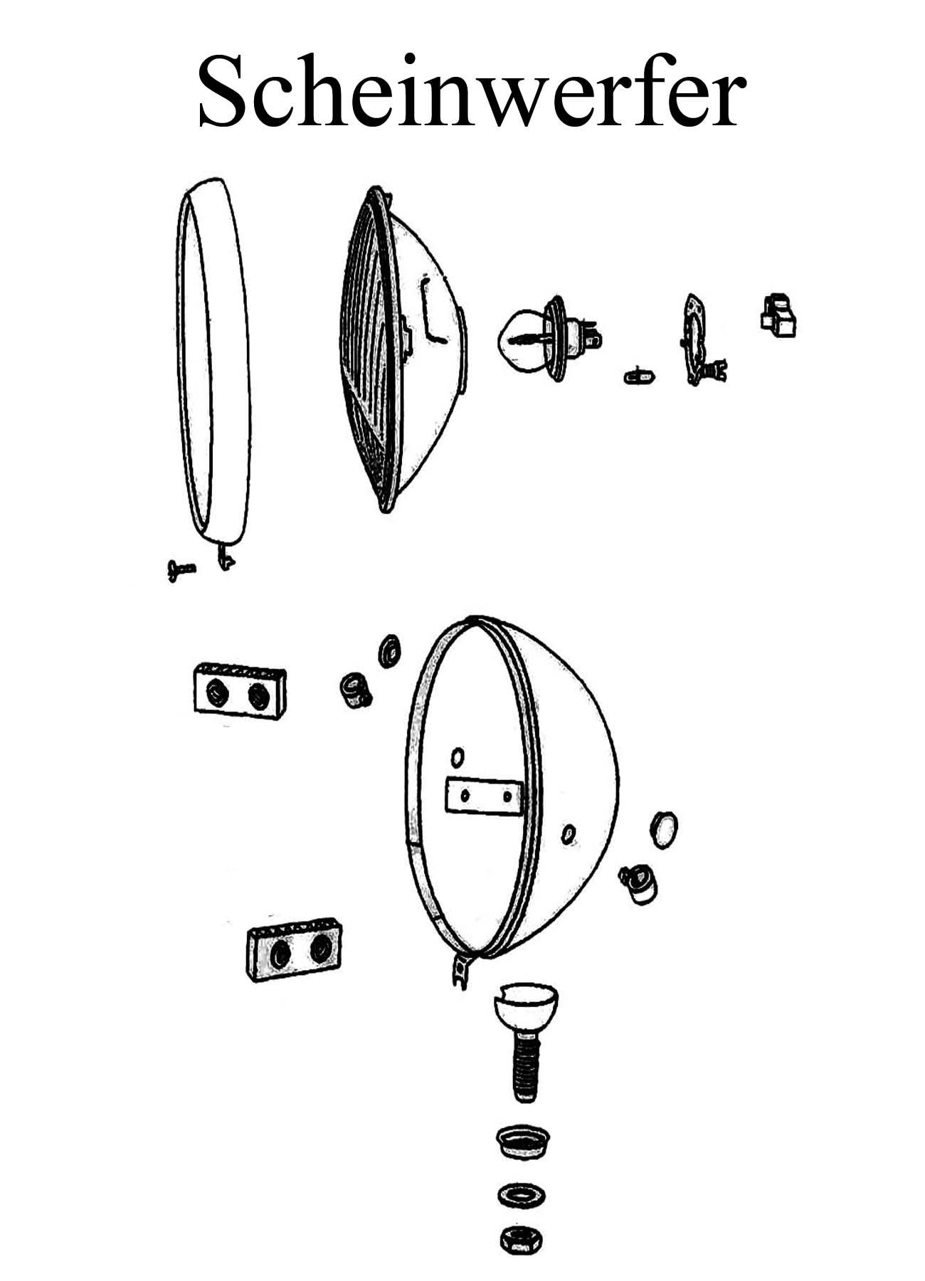 MZ ETZ 250 Ersatzteile Scheinwerfer Reflektor Streuscheibe