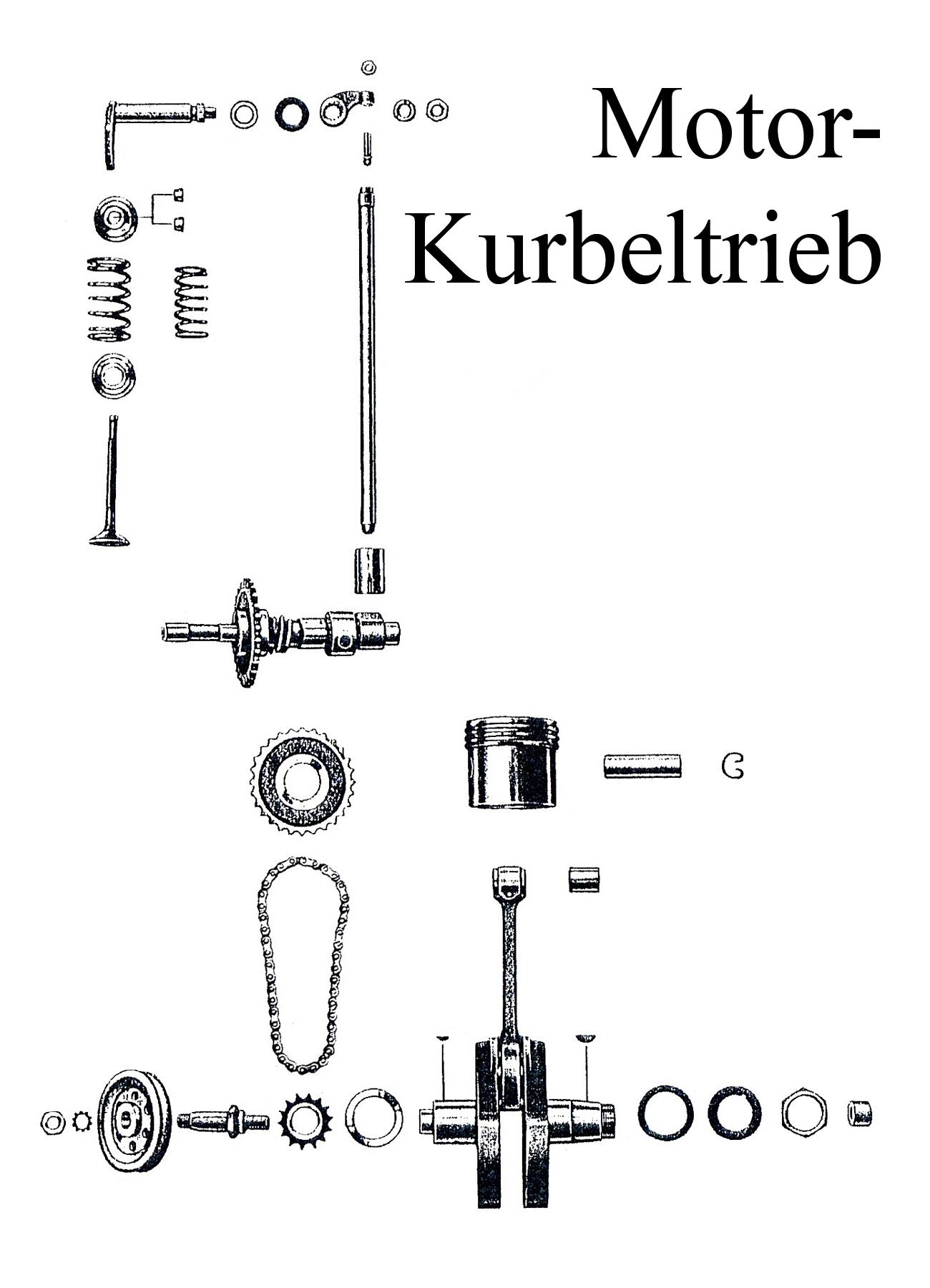 DDR-Motorrad EMW R 35 Ersatzteileliste Motor Kurbelwelle Steuerkette Ventil