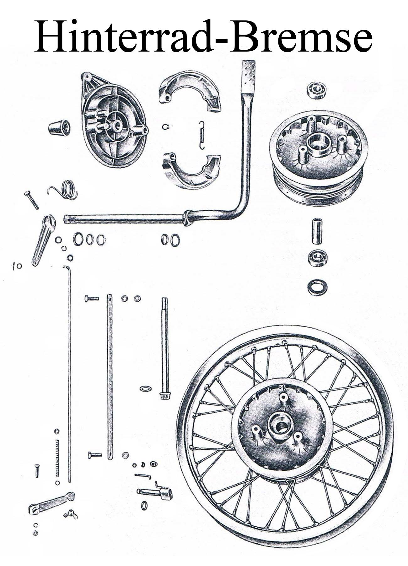 MZ ES 175/2-250/2 Ersatzteileliste Hinterrad Nabe Felgenband Alu Reifen Schlauch Speichen Edelstahl Chrom