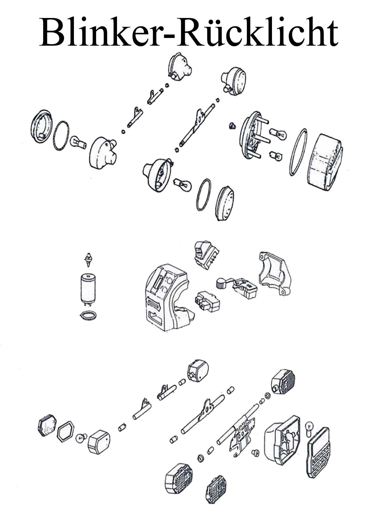 MZ ETZ 125-150 Ersatzteileliste Blinkerglas Rücklichtkappe Schalter Blinkgeber Halter Birne Lampe