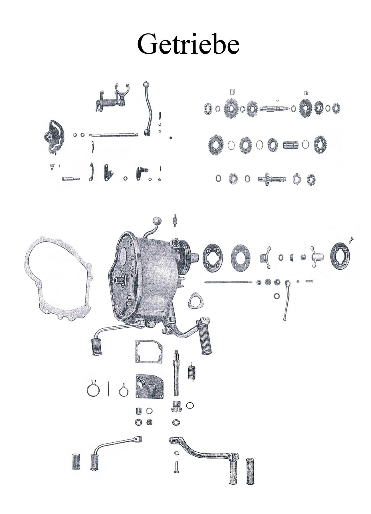 DDR-Motorrad AWO Sport Ersatzteileliste Getriebe Dichtung Lager Wellendichtring Gummi Kickstarterwelle Fußschalthebel