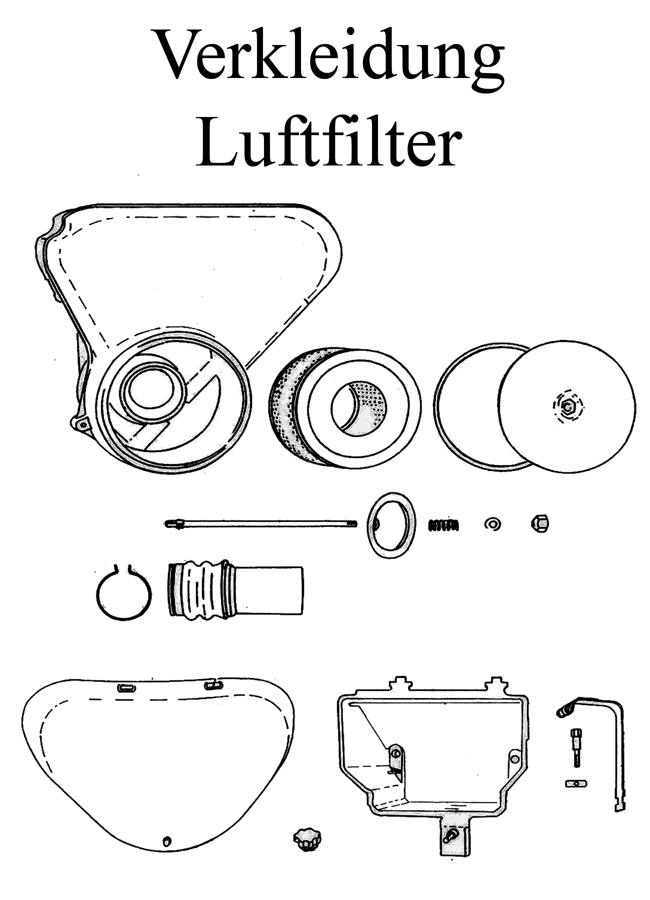 MZ TS 250/0-1 Ersatzteile Verkleidung Luftfilter