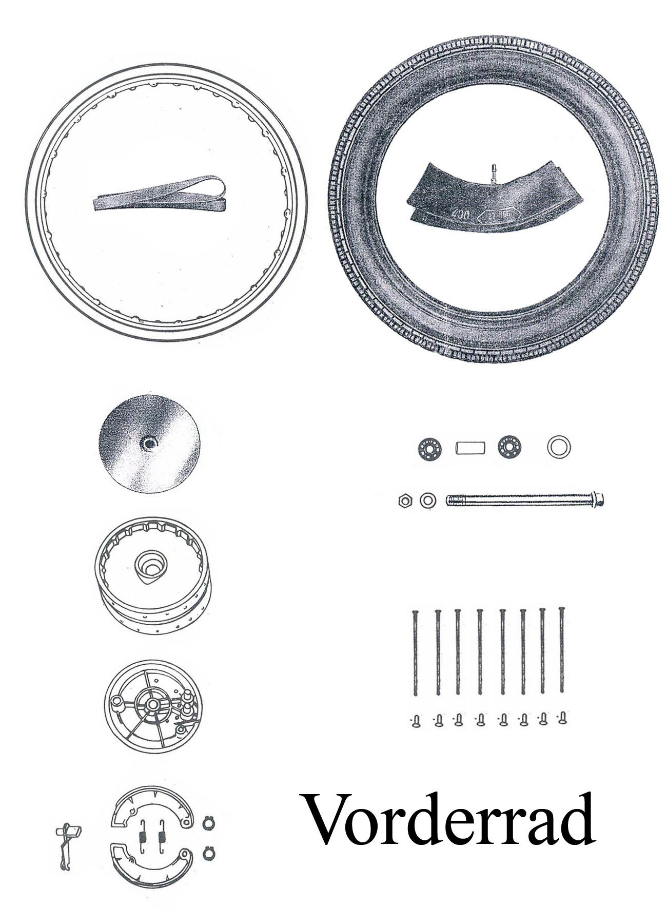 MZ ES 125-150/0-1 Ersatzteileliste Vorderrad Nabe Bremse Reifen Felge Speichen