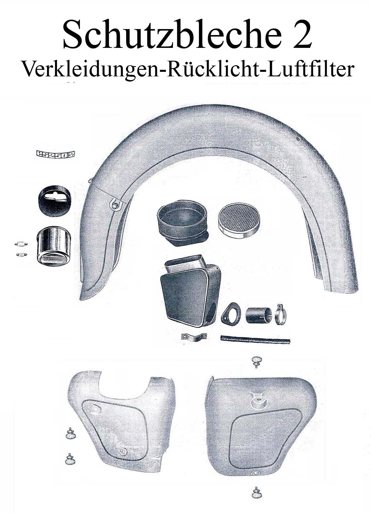 DDR-Motorrad MZ ES 175-250/0-1 Ersatzteileliste Schutzblech Kotflügel Typabzeichen Rändelschraube Verkleidung Rücklichtgummi Luftfilter Ansaugrohr