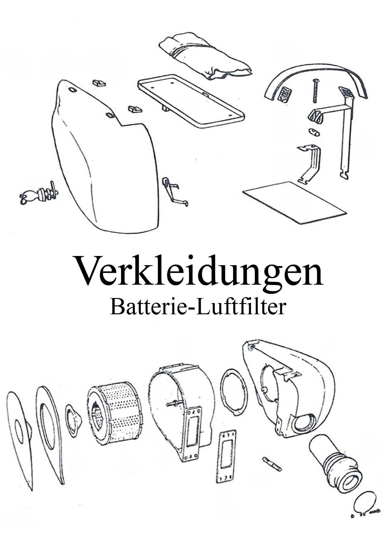 MZ ETZ 125-150 Ersatzteileliste Verkleidungen Seitendeckel Aufkleber Schloss Batteriespannband Werkzeugfach Luftfilter Dichtung Ansauggummi