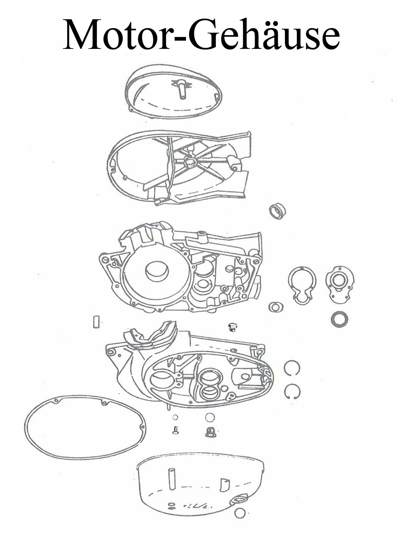DDR-Motorrad MZ ES 125-150/0-1 Ersatzteileliste Motorgehäuse Dichtung Schraube Dichtring Lager Wellendichtring Kupplungsdeckel