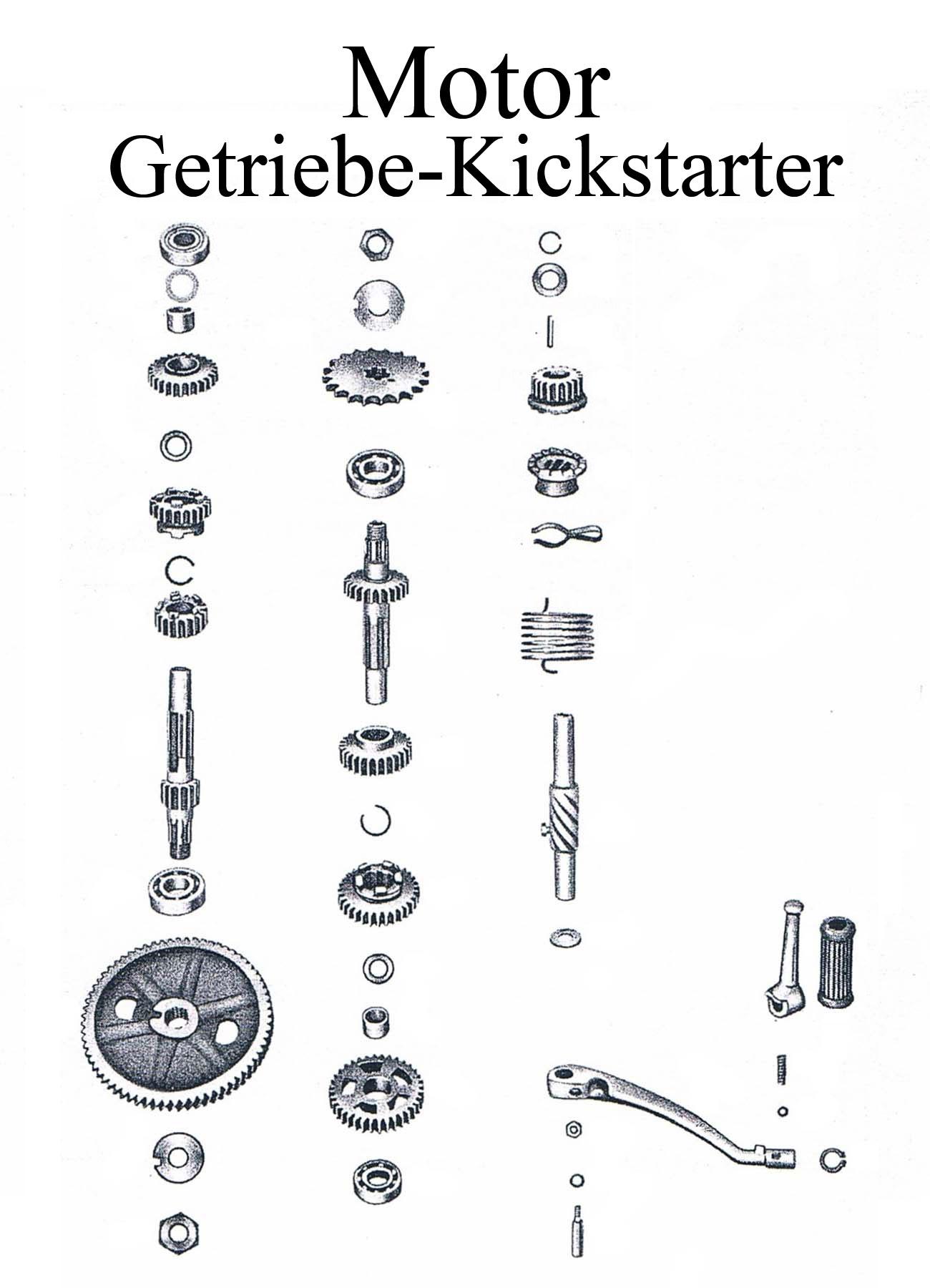 DDR-Motorrad MZ ES 175/2-250/2 Ersatzteileliste Motor Getriebe Kickstartergummi Keilschraube