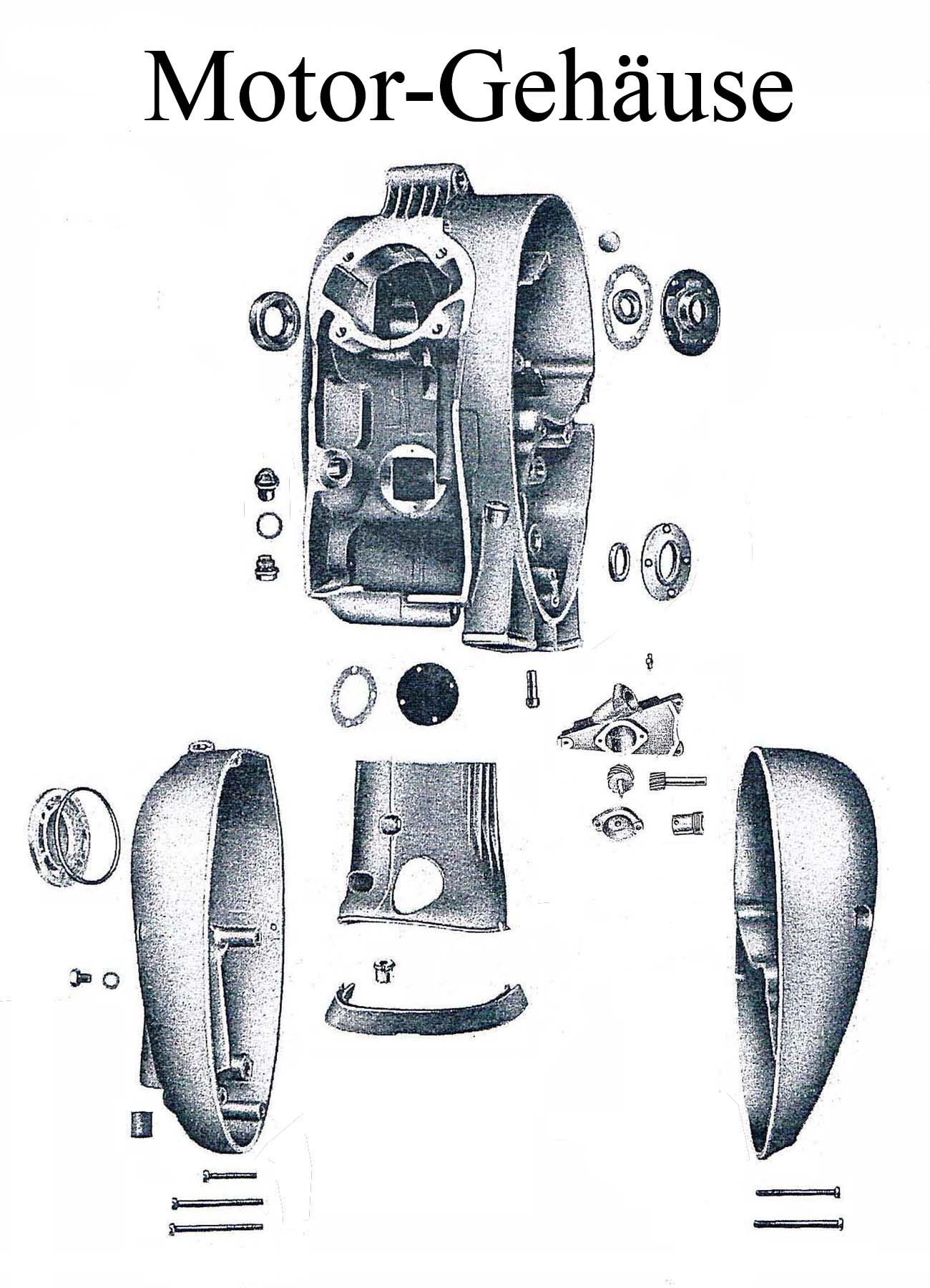 DDR-Motorrad MZ ES 175-250/0-1 Ersatzteileliste Motorgehäuse Dichtung Schraube Gummi Lager Wellendichtring Kupplungsdeckel