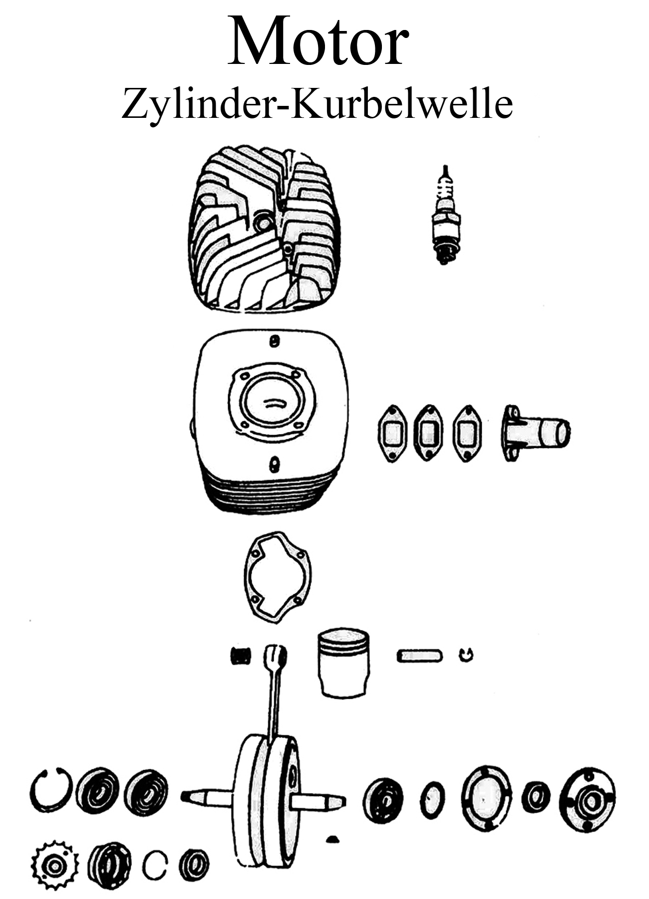 DDR Motorrad MZ TS 125 150 Ersatzteile Motor Zylinder Kurbelwelle