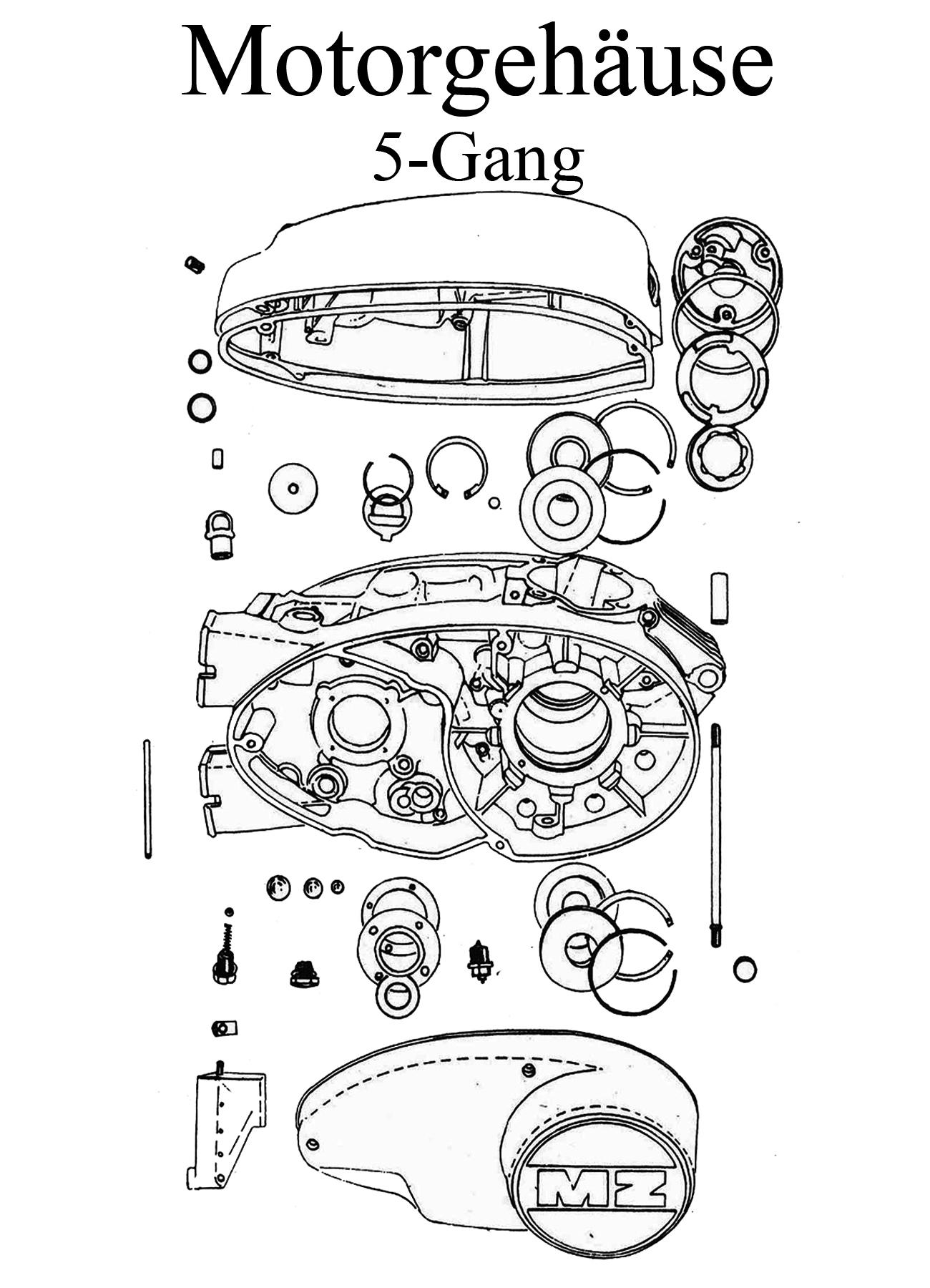MZ TS 250/1 Ersatzteile 5-Gang-Motorgehäuse