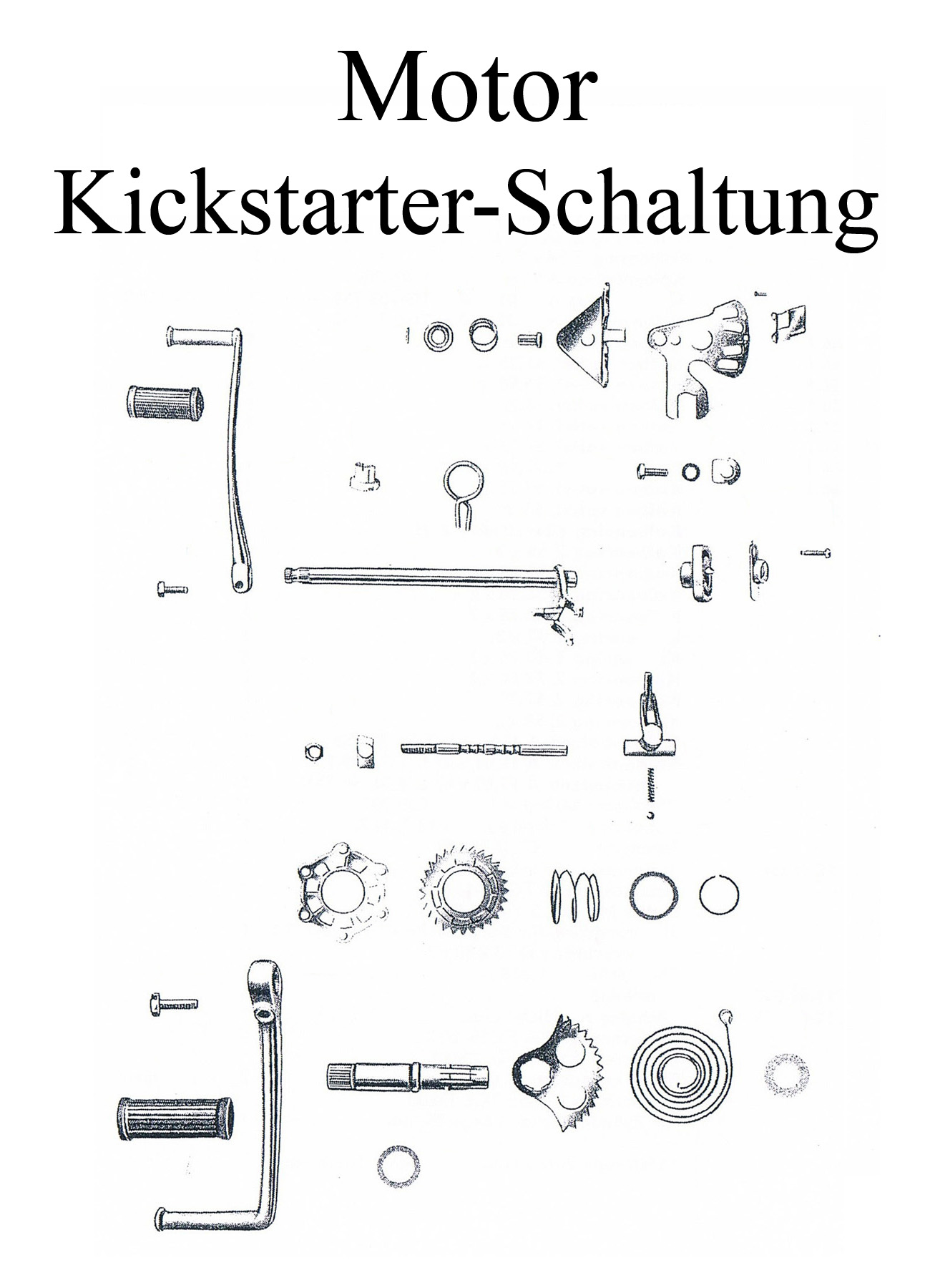 MZ ES 125-150/0-1 Ersatzteileliste Motor Schaltung Kickstartersegment Schalthebelgummi Welle