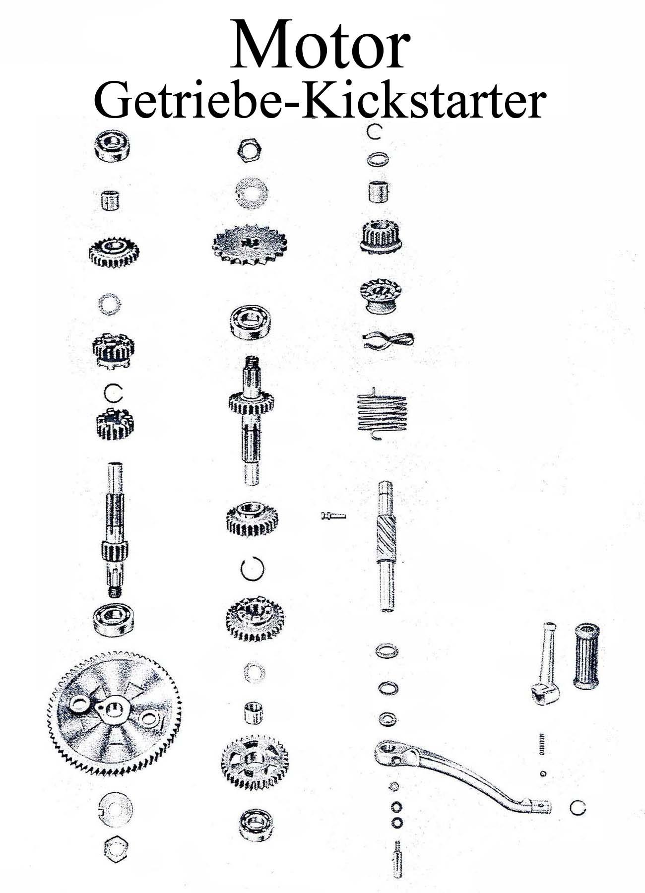MZ ES 175-250/0-1Ersatzteileliste Motor Getriebe Kickstarterwelle Gummi Zahnrad Keilschraube