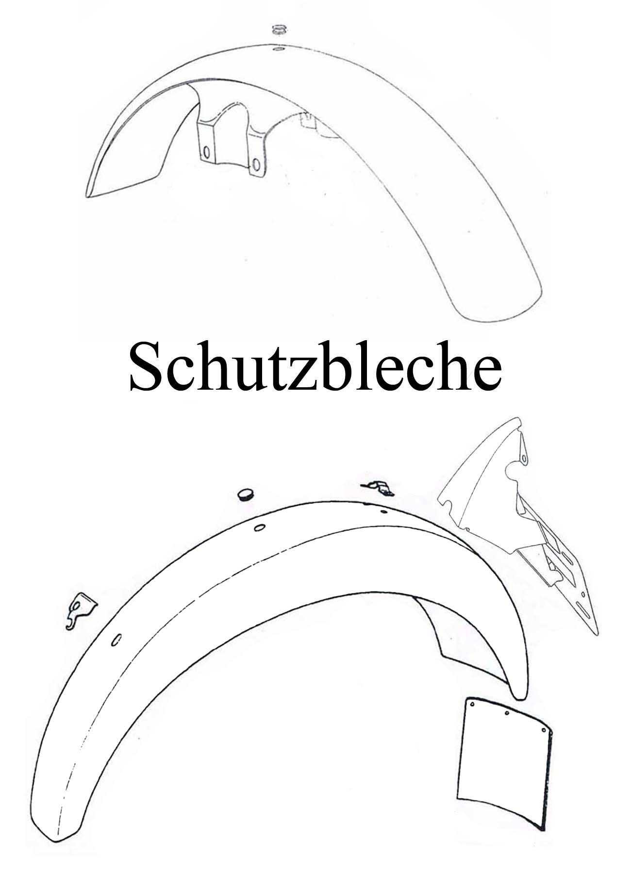 MZ ETZ 125-150 Ersatzteileliste Schutzbleche vorn Hinterradkotflügel Gummi Spritzlappen Rücklicht-Kennzeichenhalter
