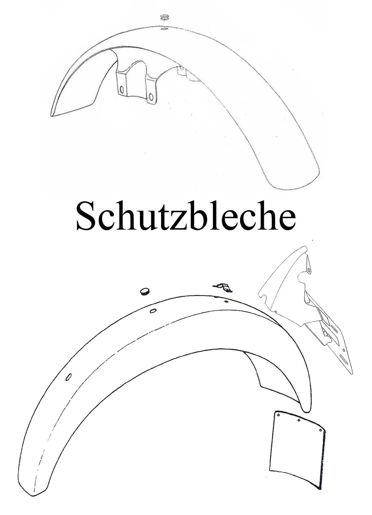 MZ ETZ 251 Ersatzteileliste Schutzbleche vorn Hinterradkotflügel Gummi Spritzschutz Rücklicht-Kennzeichenhalter