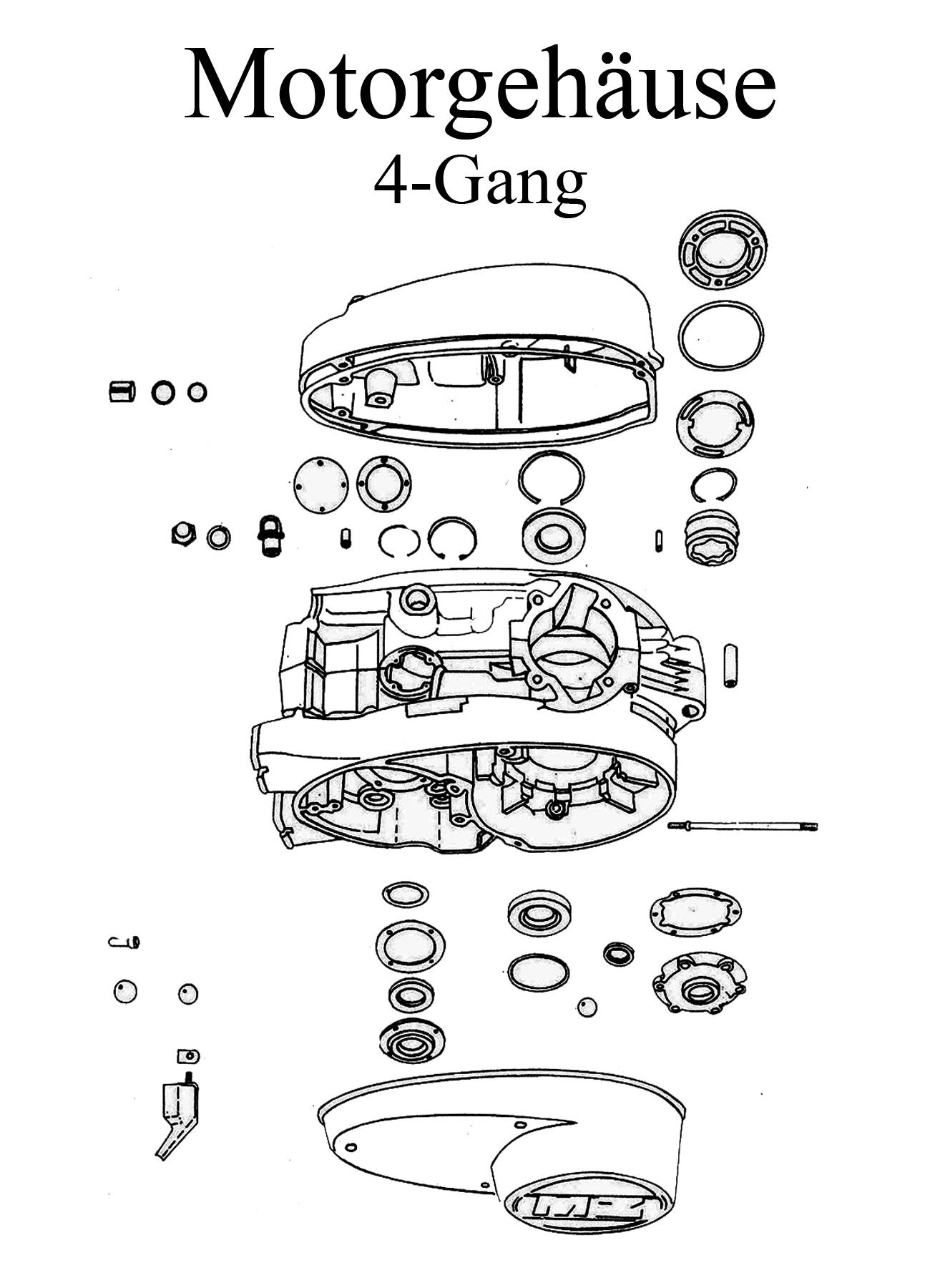 MZ TS 250 Ersatzteileliste 4-Gang Motorgehäuse
