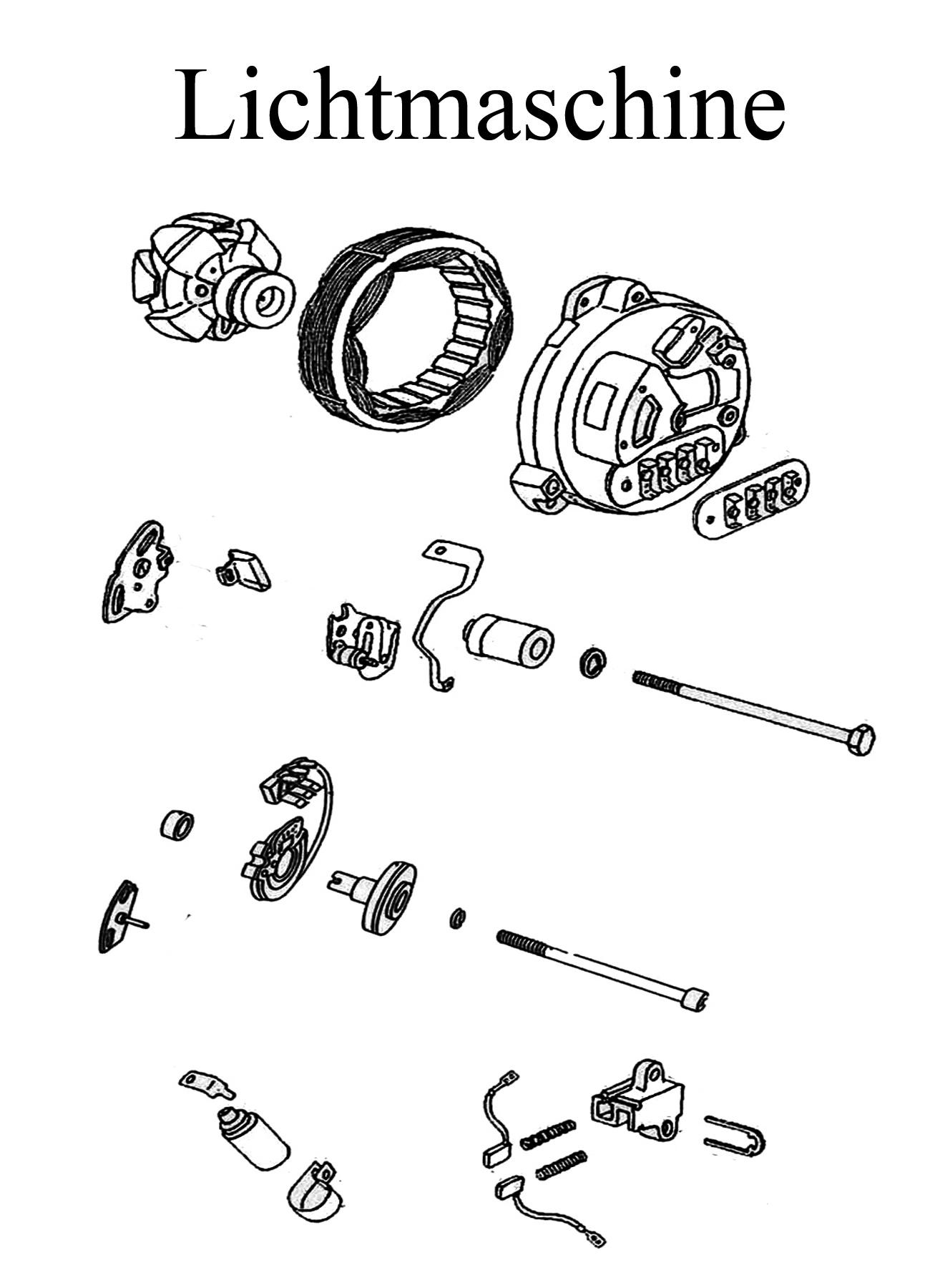 DDR-Motorrad MZ ETZ 125-150 Ersatzteileliste Lichtmaschine elektronische Unterbrecherzündung Kondensator Nocken