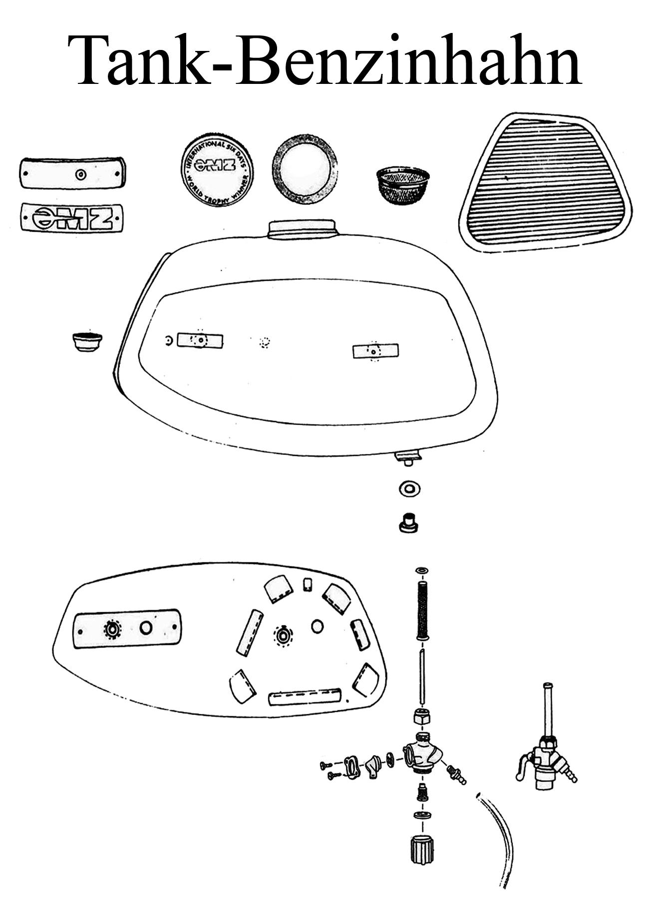 DDR-Motorrad MZ TS 125-150 Ersatzteile Tank Benzinhahn