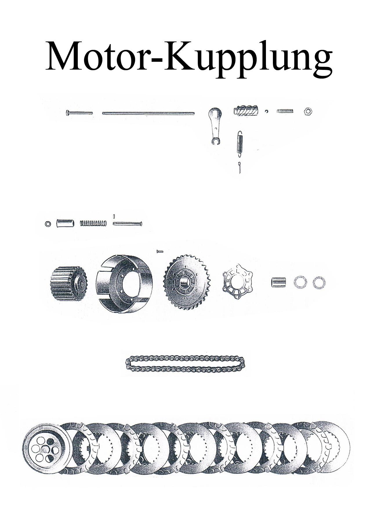 DDR-Motorrad MZ ES 125-150/0-1 Ersatzteileliste Motor Kupplungscheiben Stahl Reibbelag Druckstange Kette