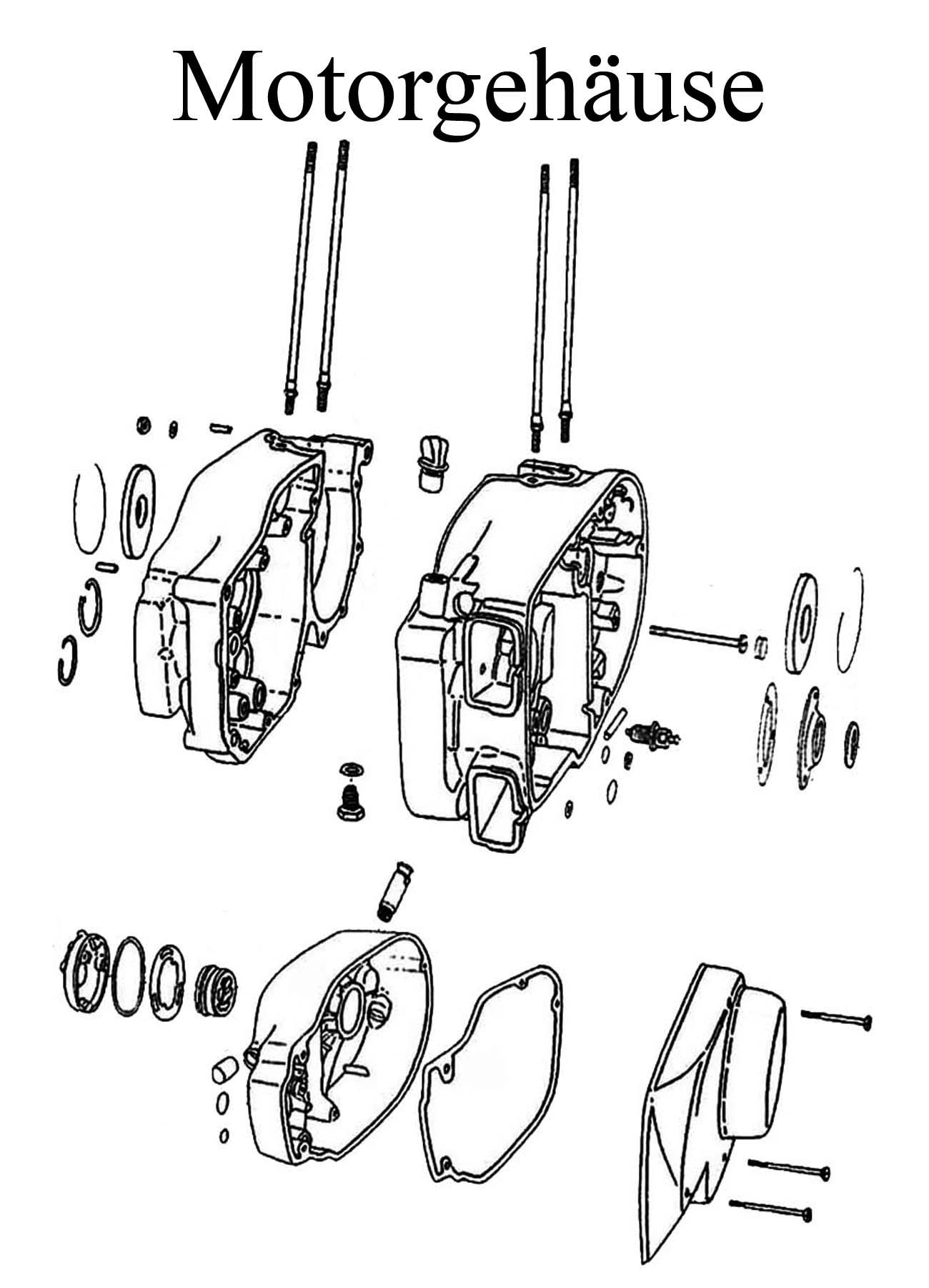 MZ ETZ 250 Ersatzteile Motor Gehäuse