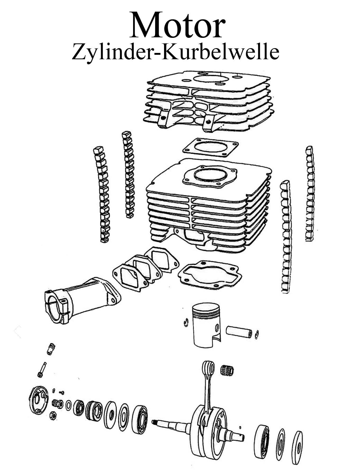 DDR-Motorrad MZ ETZ 250 Ersatzteile Motor Zylinder Kurbelwelle