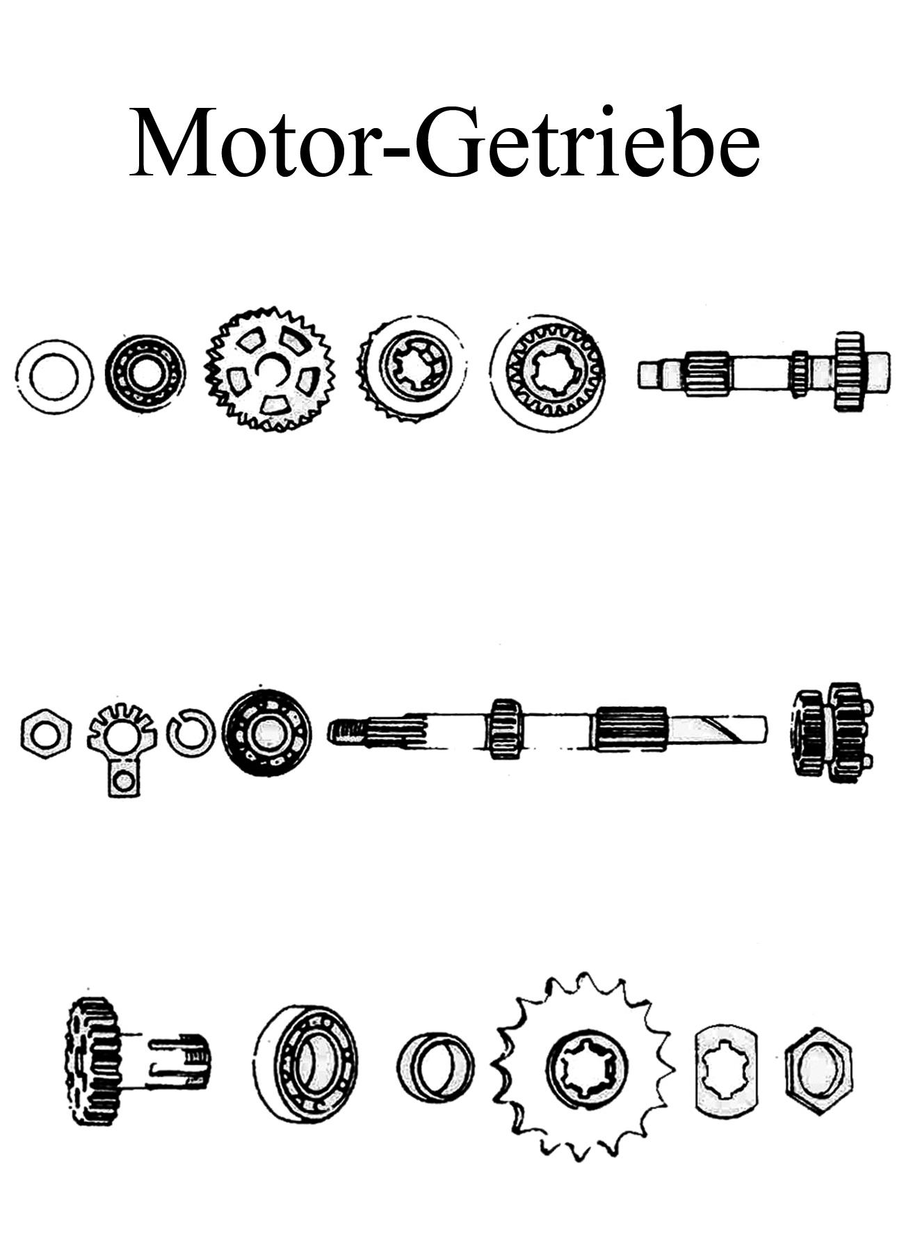MZ TS 125 150 Ersatzteile Motor Getriebe