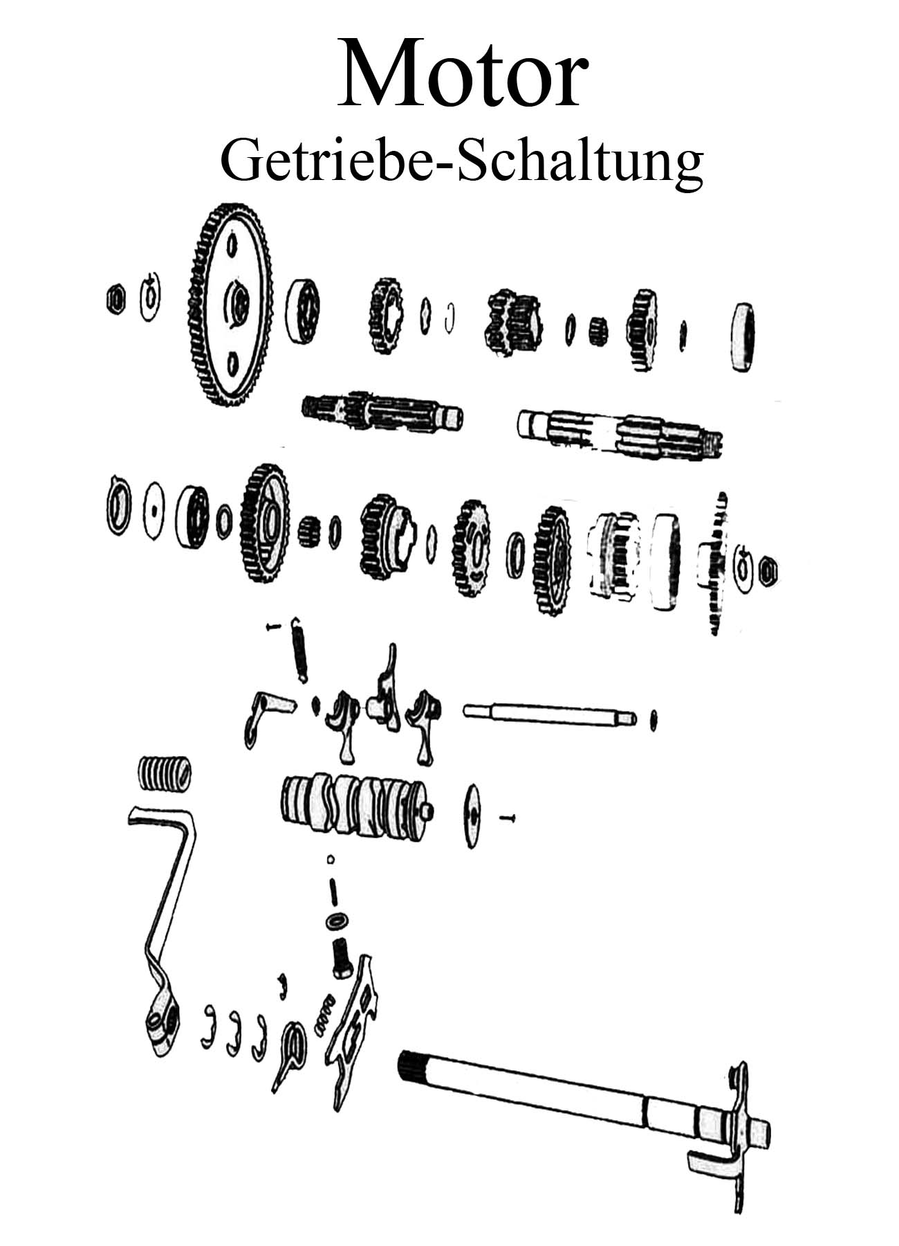 MZ ETZ 250 Ersatzteileliste Motor 5-Gang-Getriebe Fußschaltung Hebel Gummi Welle Zahnrad Schaltrad Gummi
